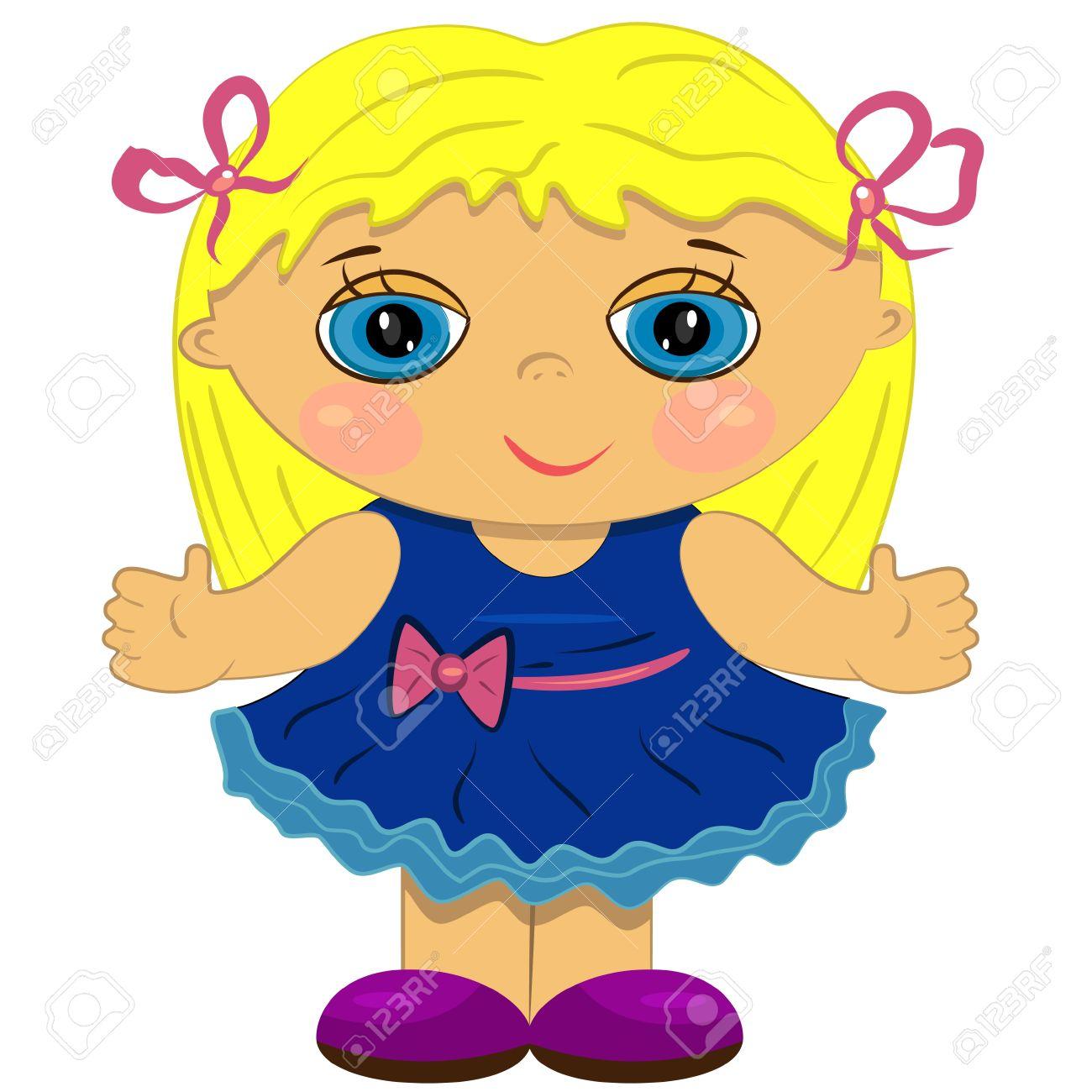 aplaudiendo niña. ilustración de la muñeca linda Foto de archivo - 14122571