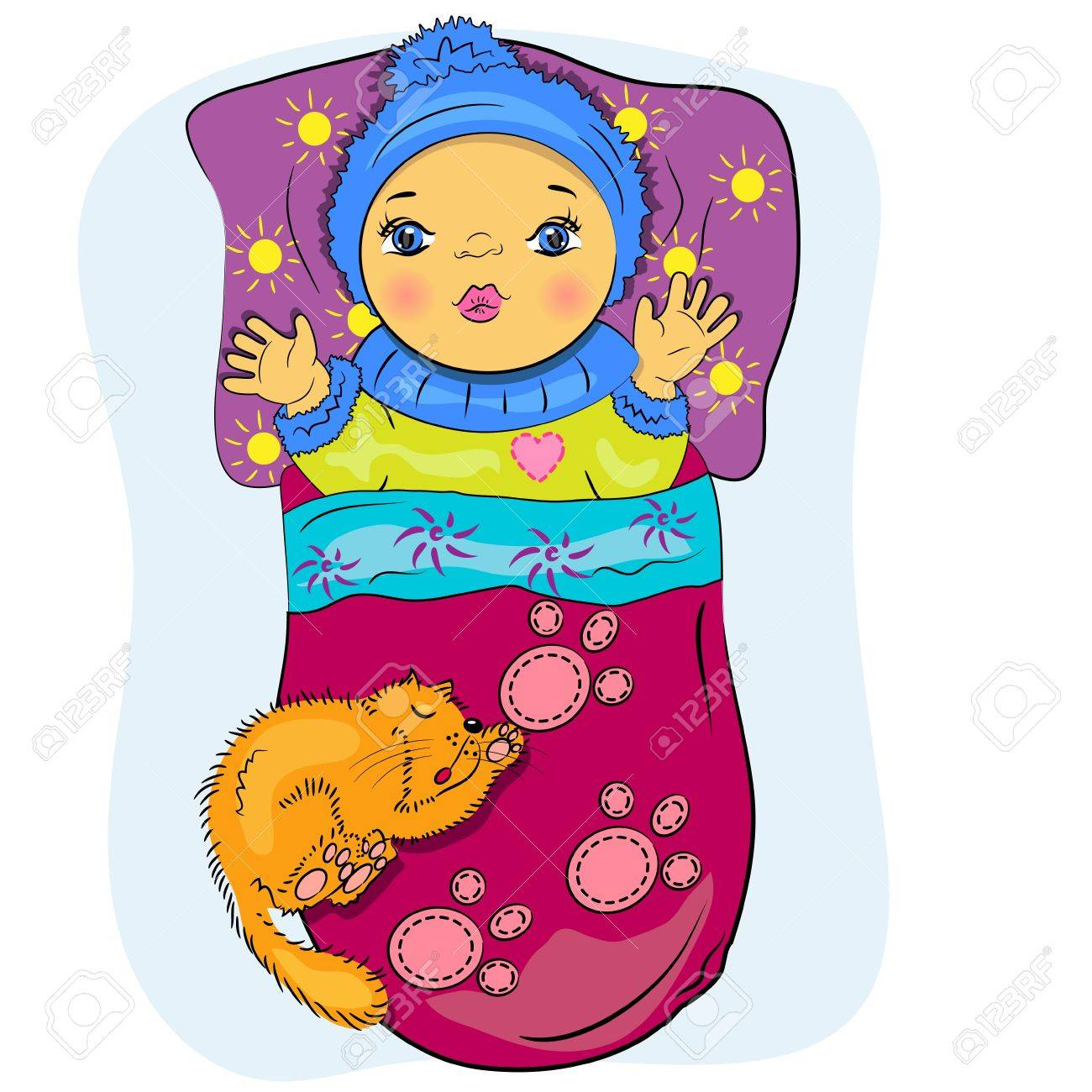 cartoon little baby in bed with pet  playing boy painting Stock Vector - 14233125