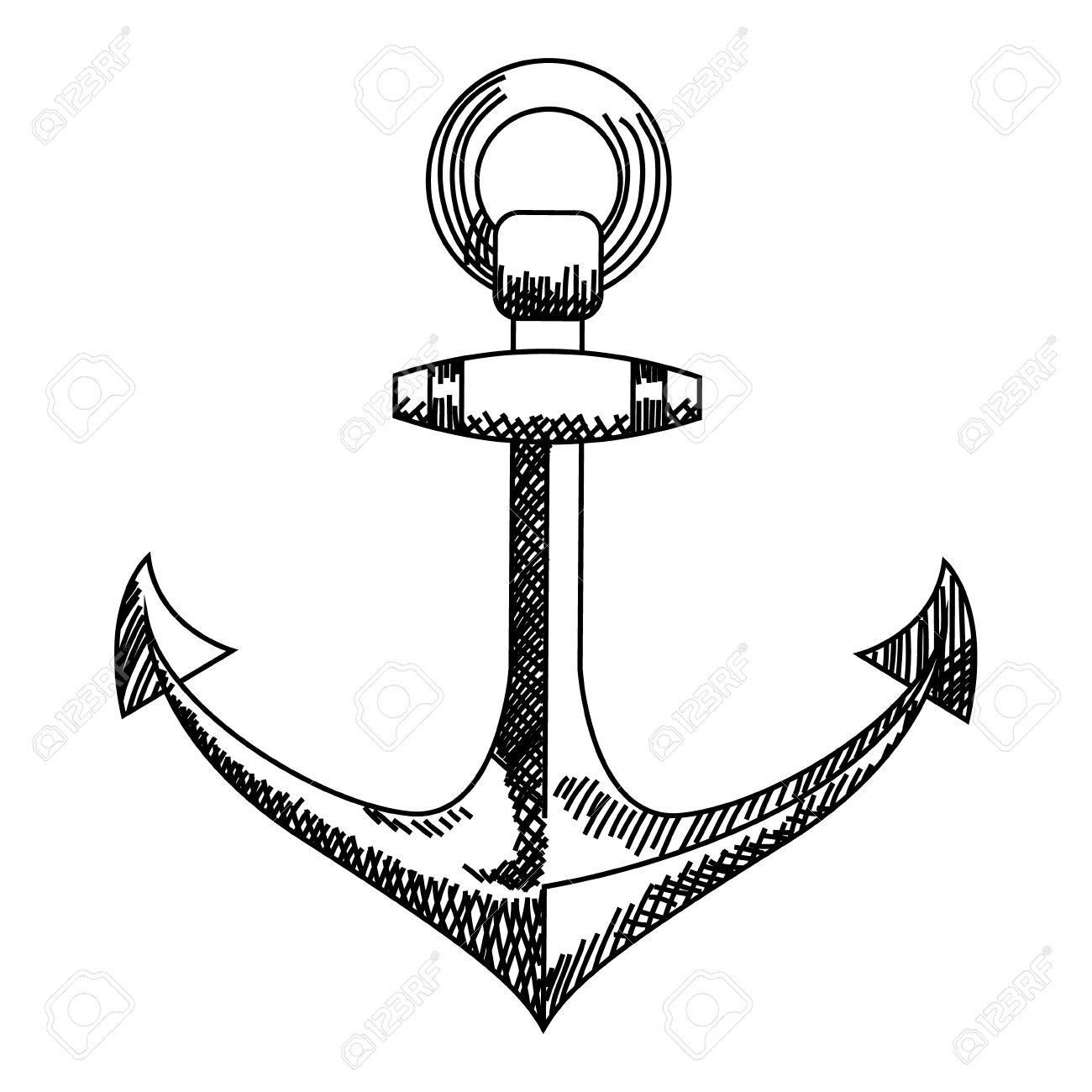 anchor icon nautical anchor vector isolated white black royalty