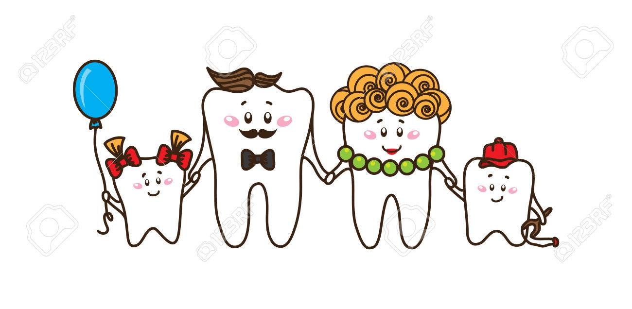 Family of the teeth on white background  Vector characters
