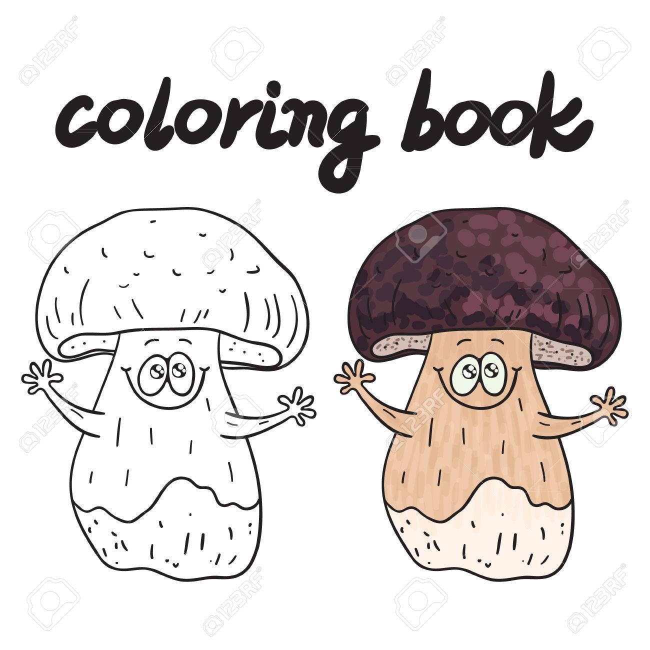 Livre à Colorier Avec Des Porcini Un Champignon Comestible Clip