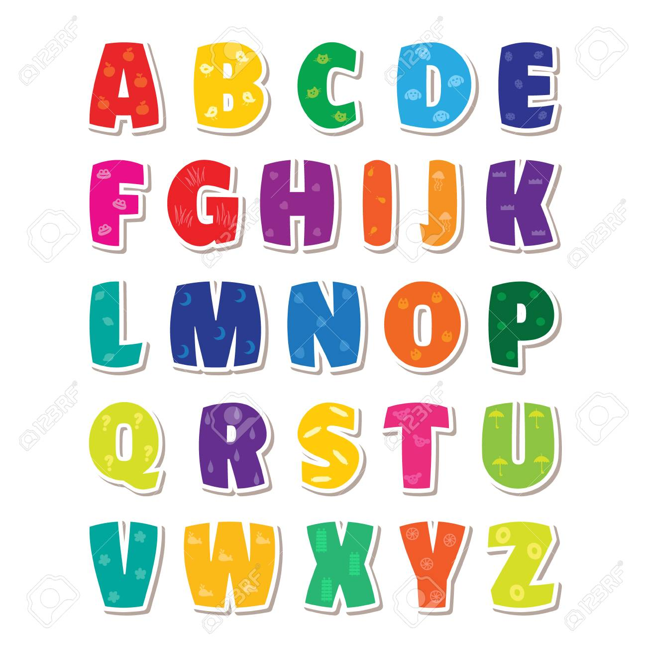 Cute Funny Childish Alphabet Vector Font Illustration Stock