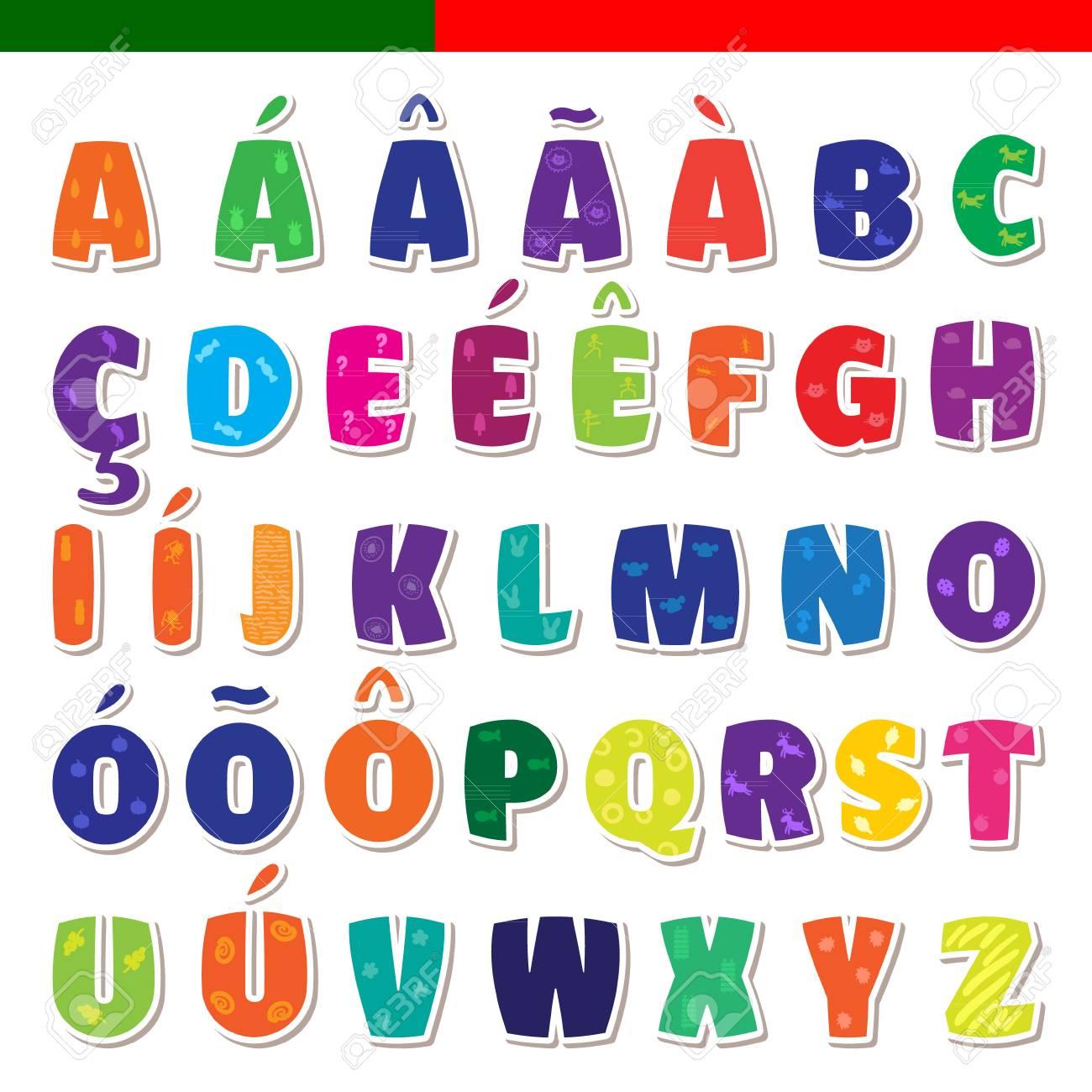 かわいい面白い幼稚なポルトガル語アルファベット。ベクトル フォント
