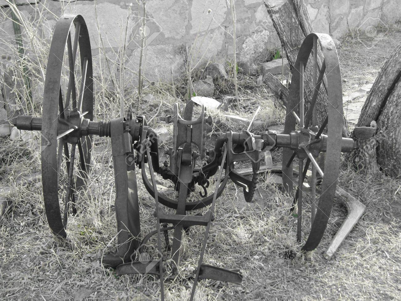 Black And White Antique Farm Equipment Stock Photo Picture And