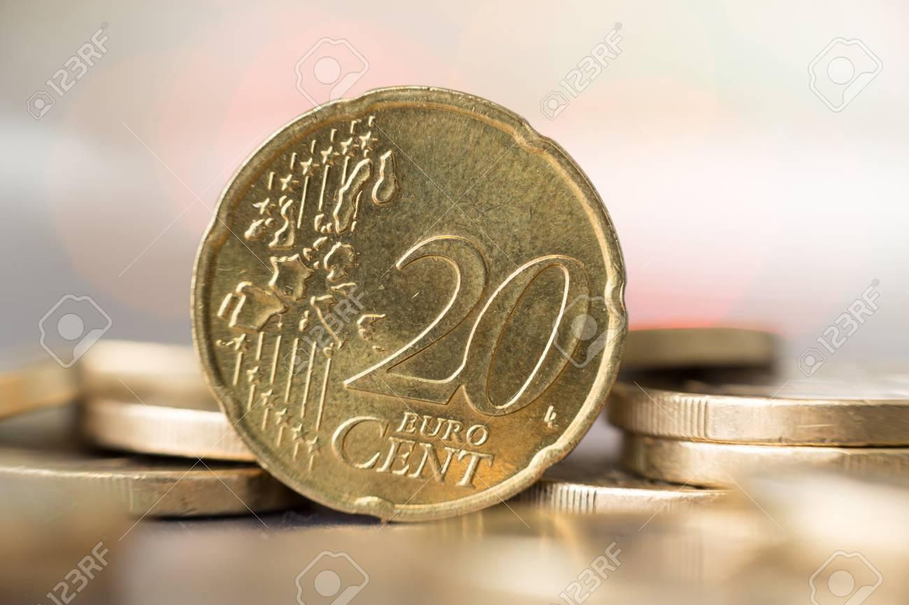 Close Up Von 20 Euro Cent Münze Mit Einem Unscharfen Hintergrund
