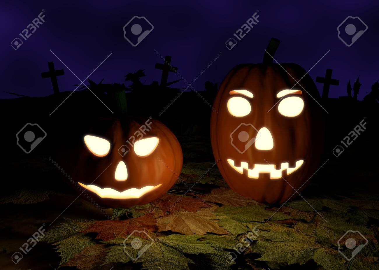 spooky halloween background with pumpkins in a cemetery - 3d.. stock