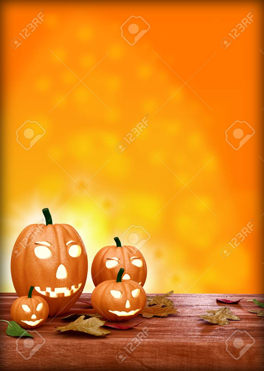 halloween flyer designn template with pumpkins and place for