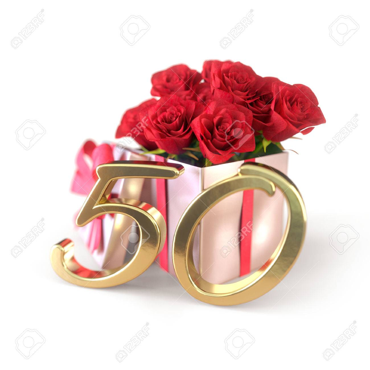 Immagini Stock Concetto Di Compleanno Con Rose Rosse In Regalo