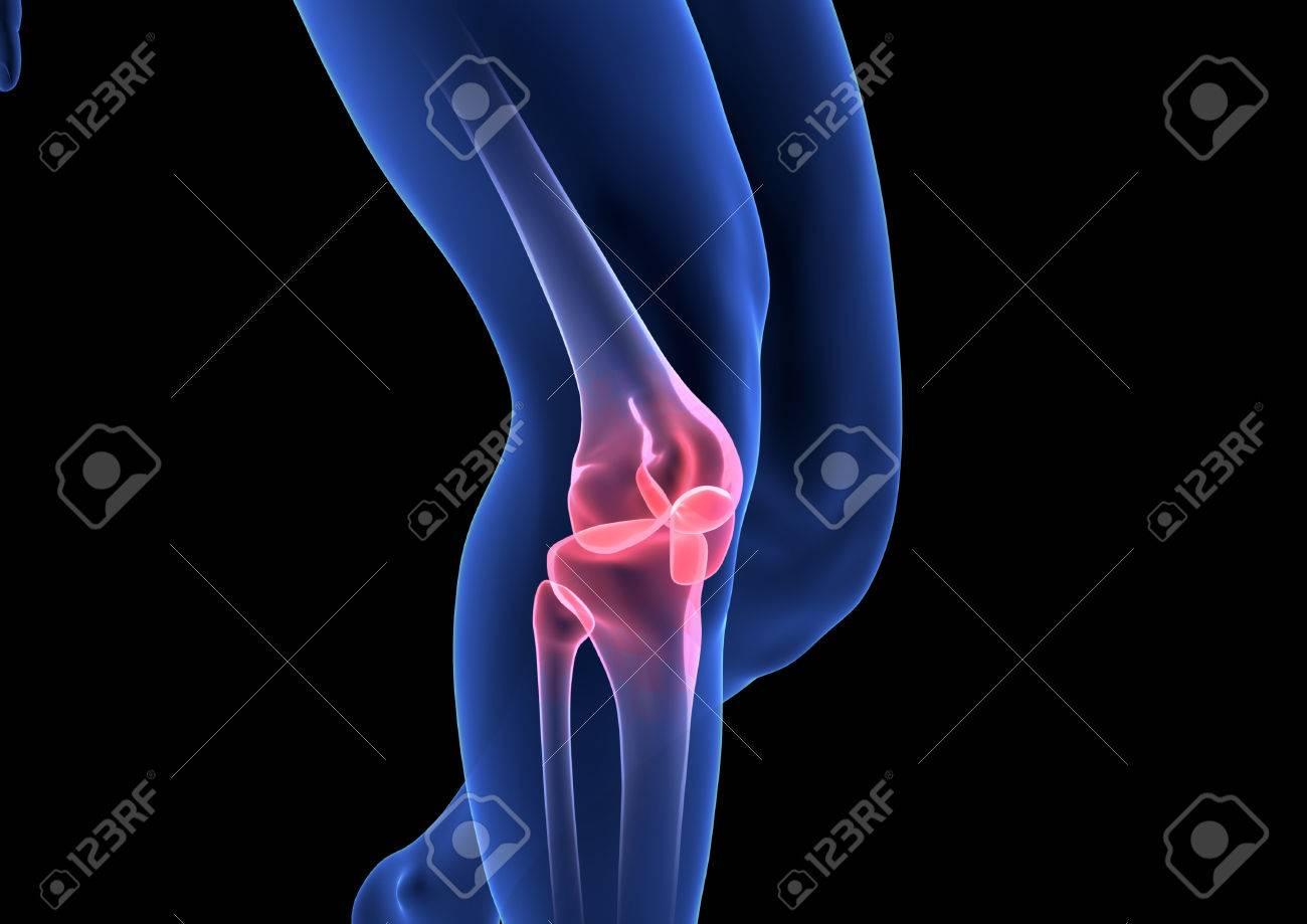 Knee Pain. Blue Human Anatomy Body 3D Render On Black Background ...