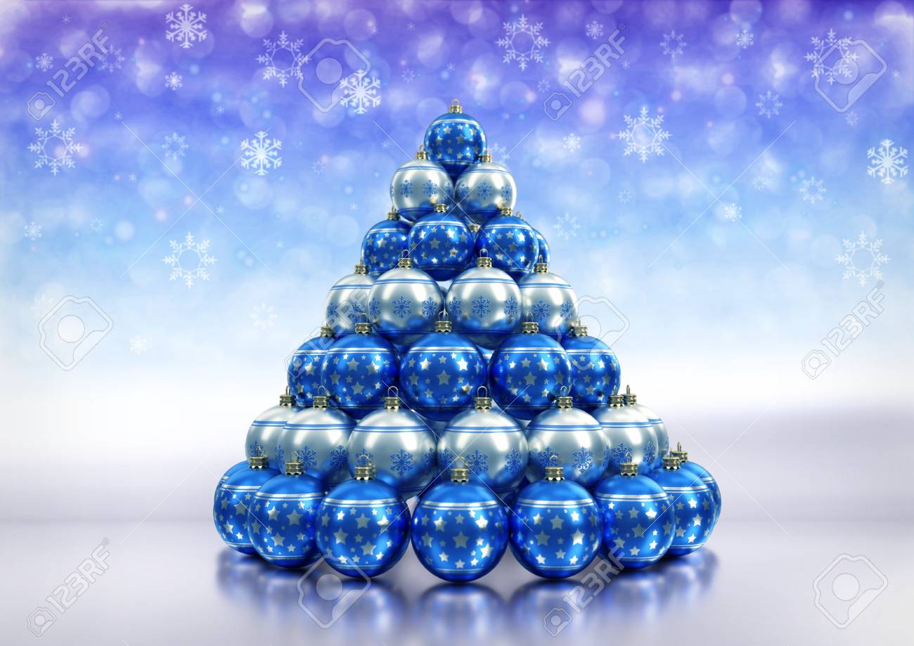 christmas theme background with blue a silver christmas bulbs on white floor and bokeh background with
