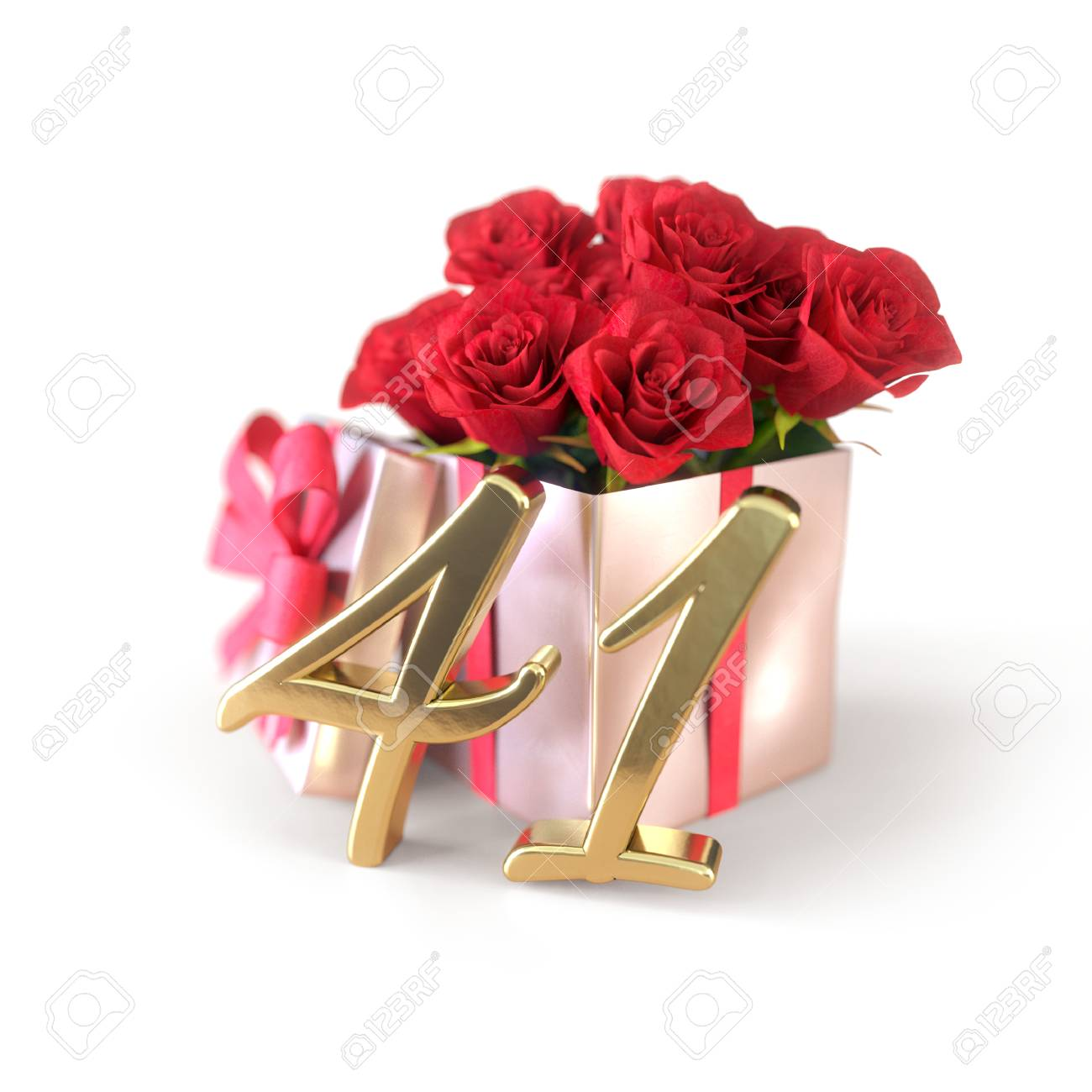 Birthday Concept With Red Roses In Gift Isolated On White Background