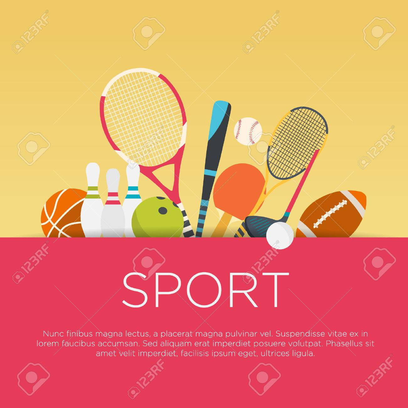 Flat Design Sport Concept Sports Equipment Background