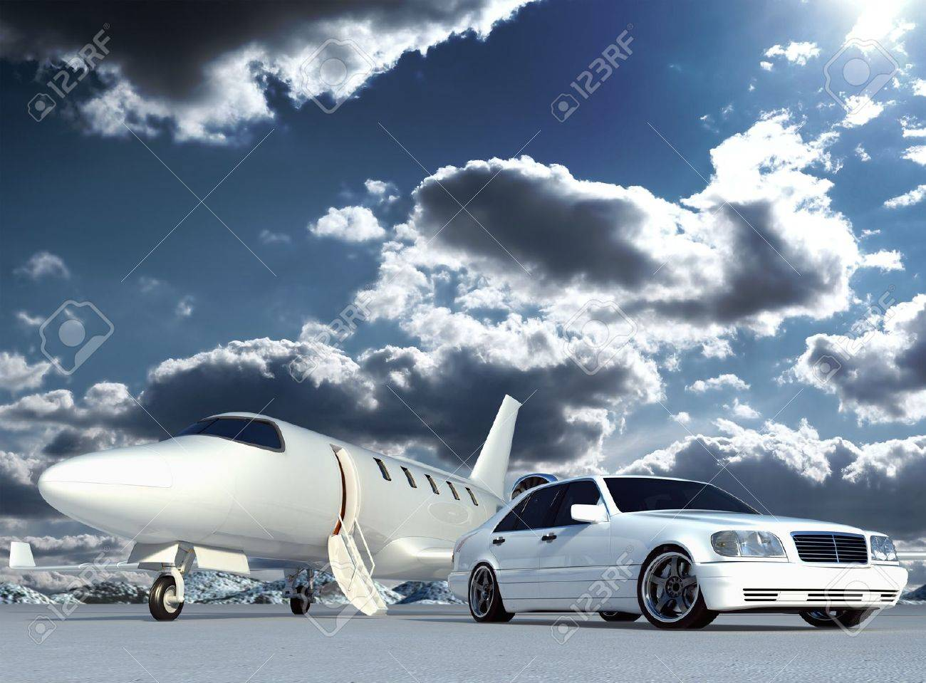 Cg Plane And Car Stock Photo, Picture And Royalty Free Image. Image