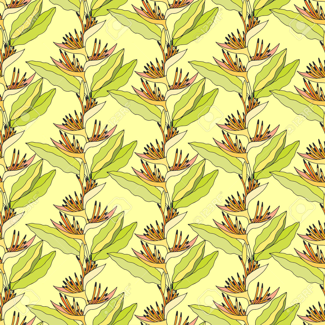 Seamless pattern of Heliconium plant. EPS10 vector illustration. Hand drawing. - 169120889