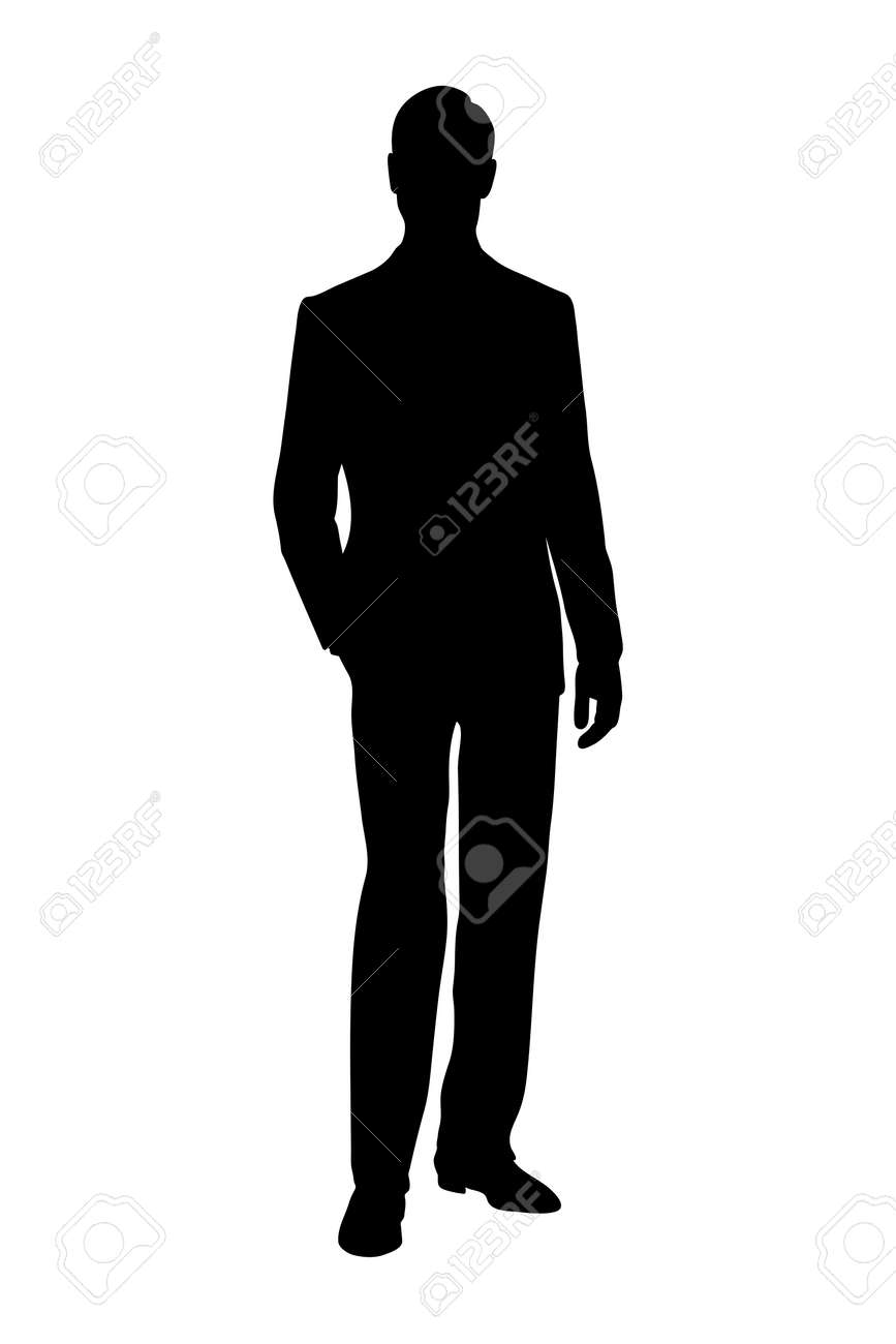 silhouette of man black and white vector illustration - 169120950