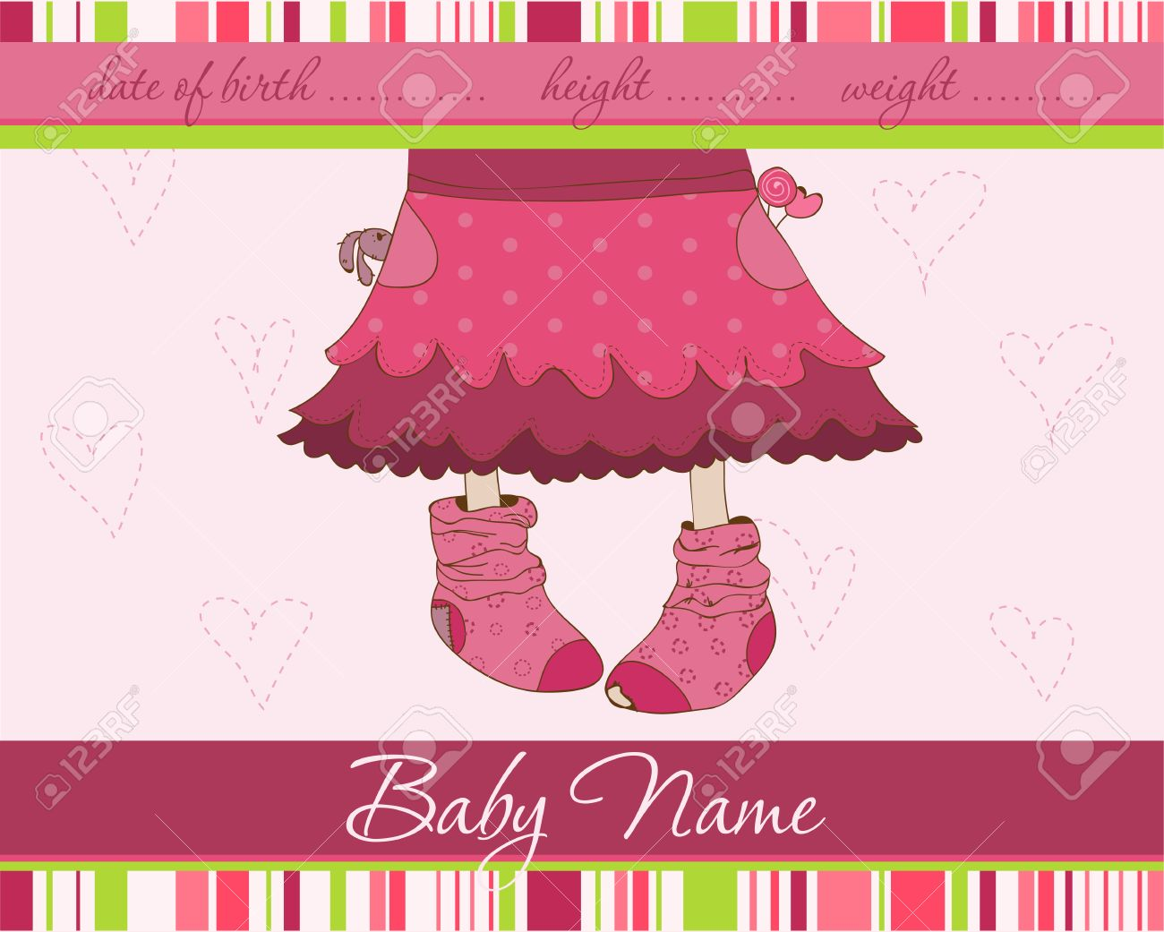Pink Baby girl arrival announcement card with funny socks Stock Vector - 8794386