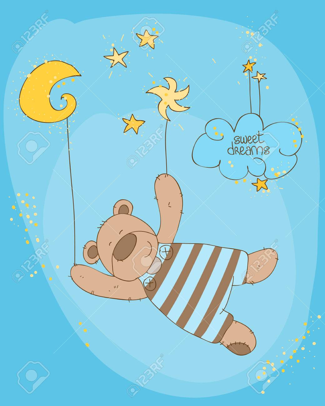 Sleeping Baby Bear Cute Card Stock Vector - 8794383