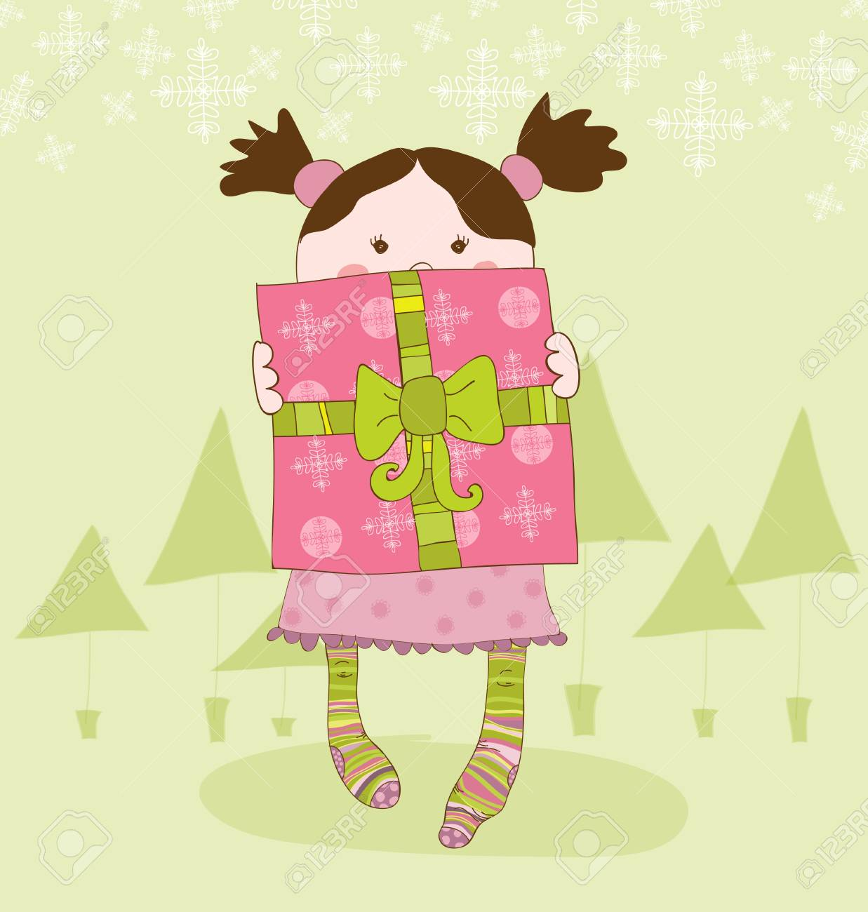 Girl with Present Chrismas Card Stock Vector - 8919104
