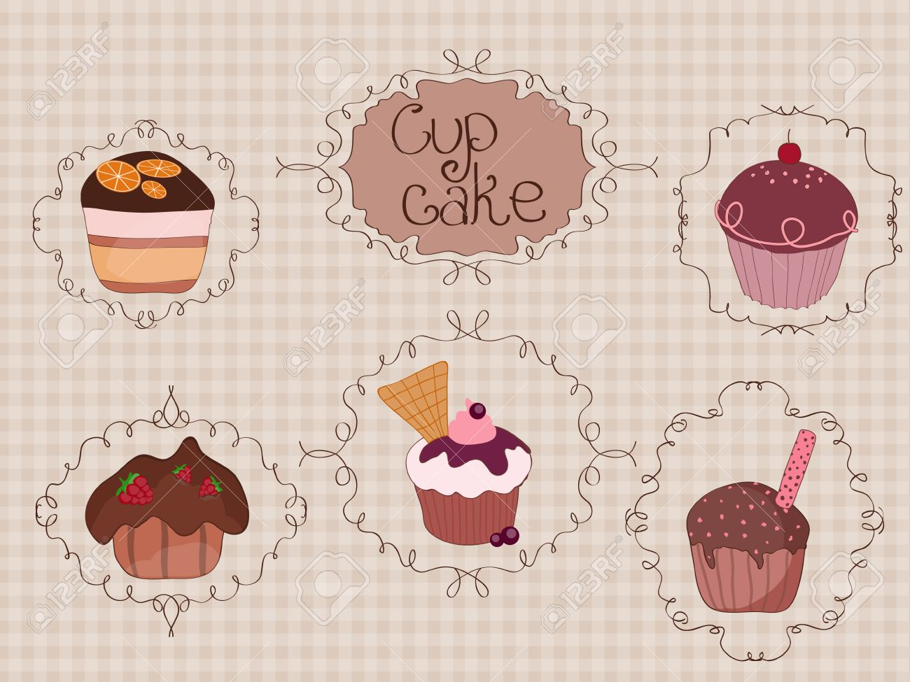 Set of Cup Cakes on vintage background with curly frames Stock Vector - 9044292