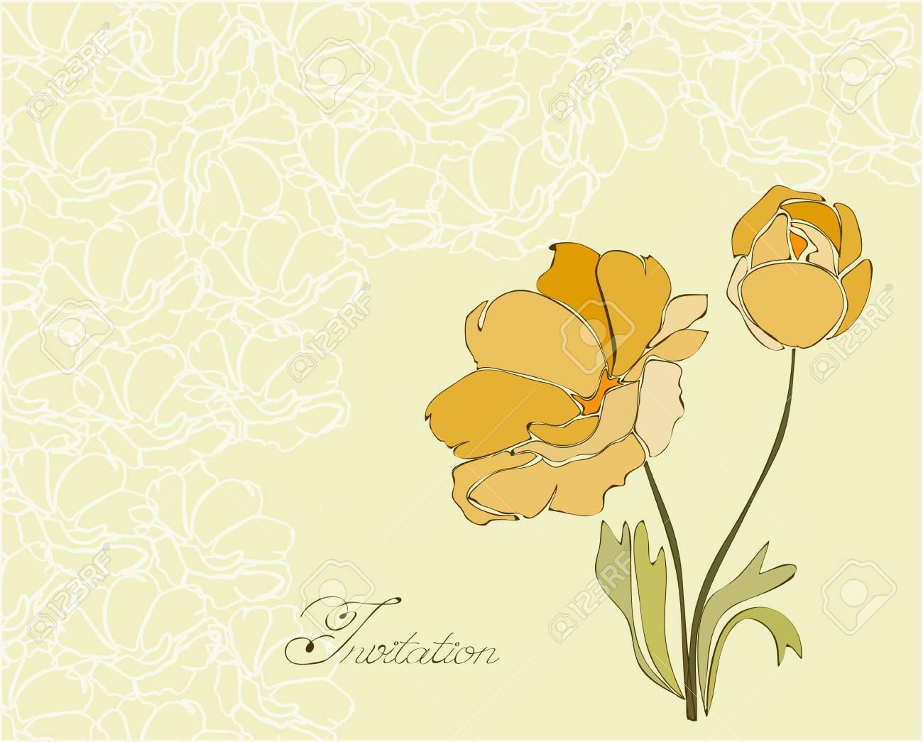 Floral Invitation Postcard in vector Stock Vector - 9044295