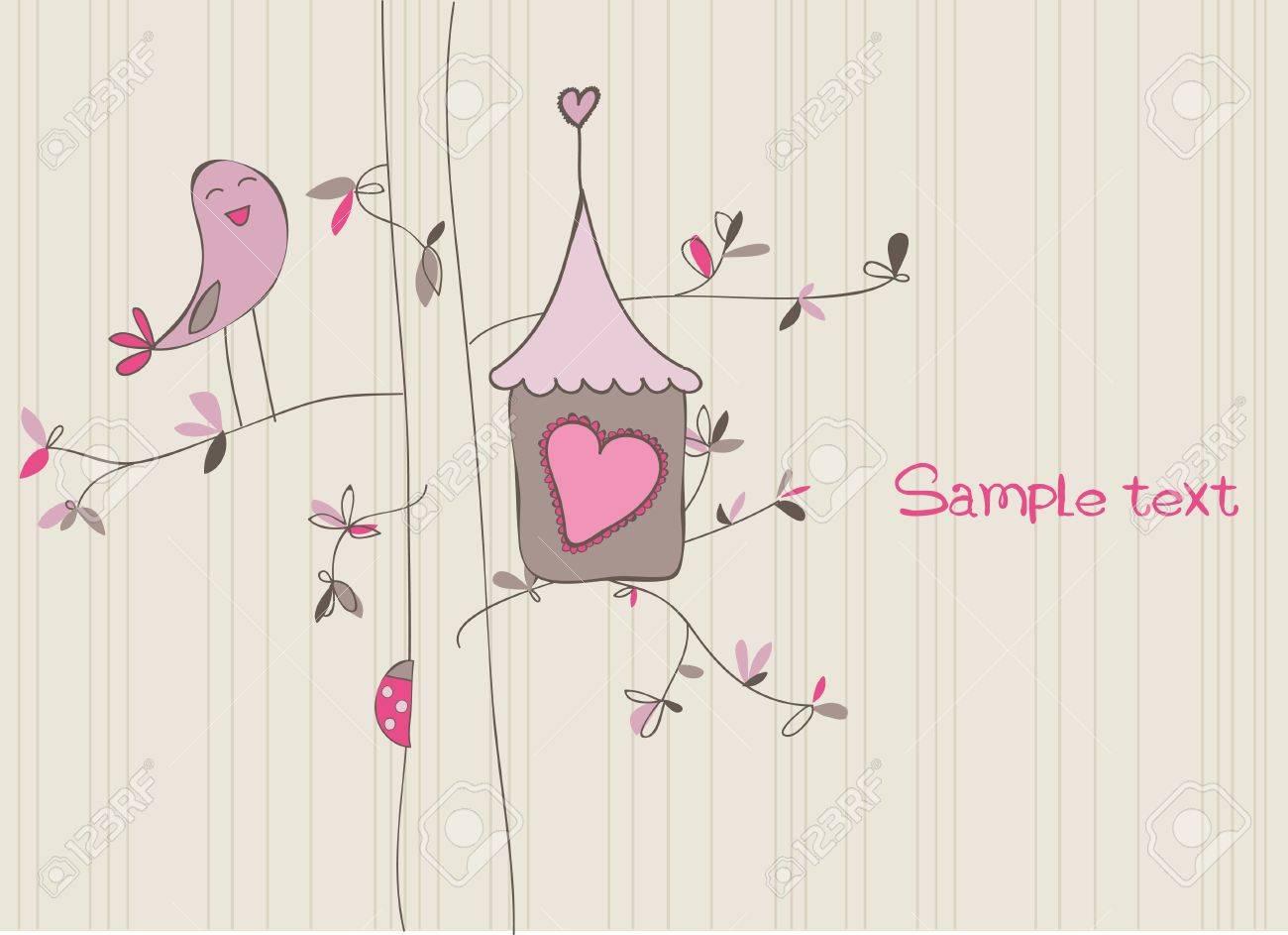 Card with Bird House in vector Stock Vector - 9141368