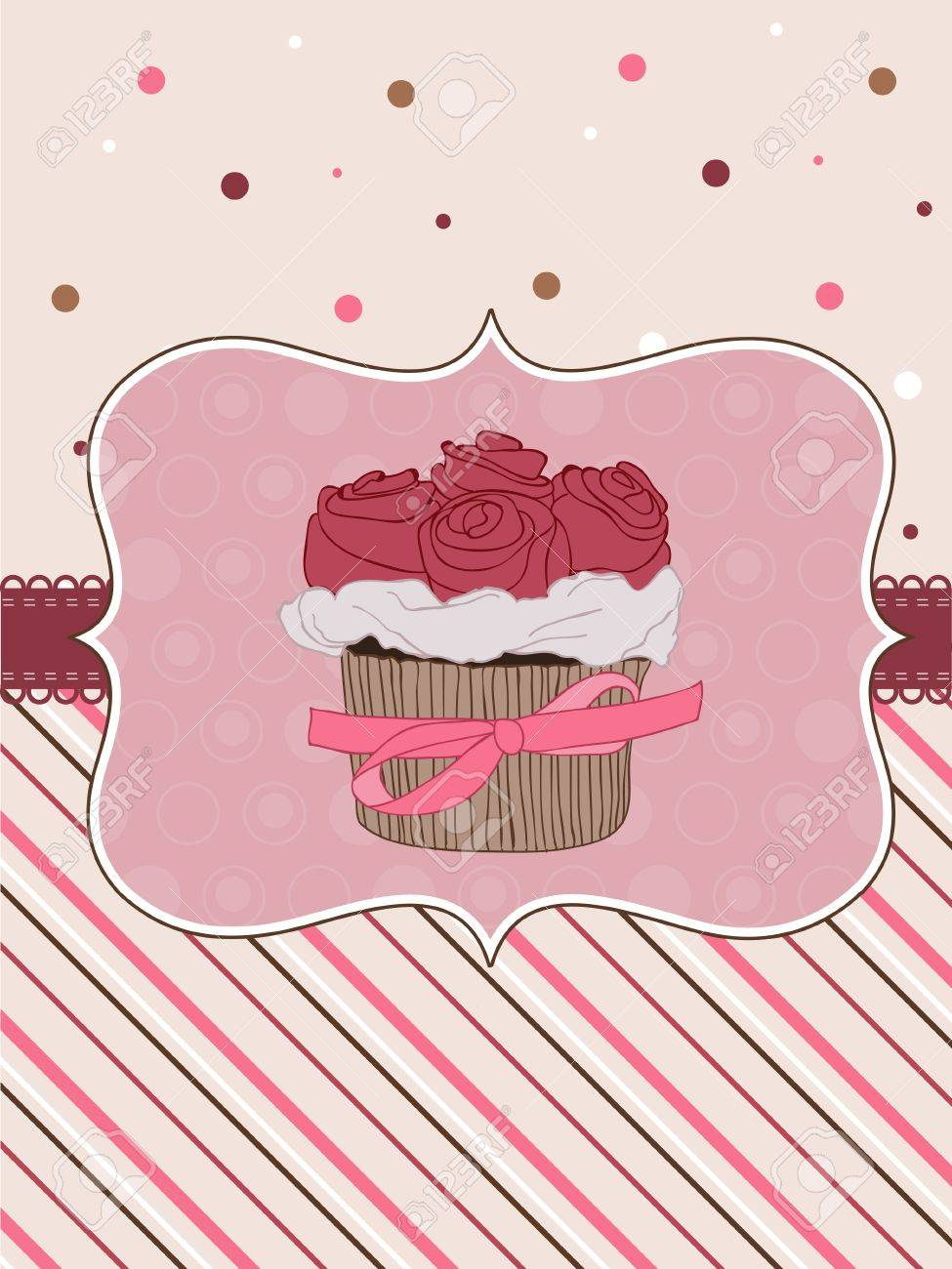 Beautiful Cupcake Card in vector Stock Vector - 9141371