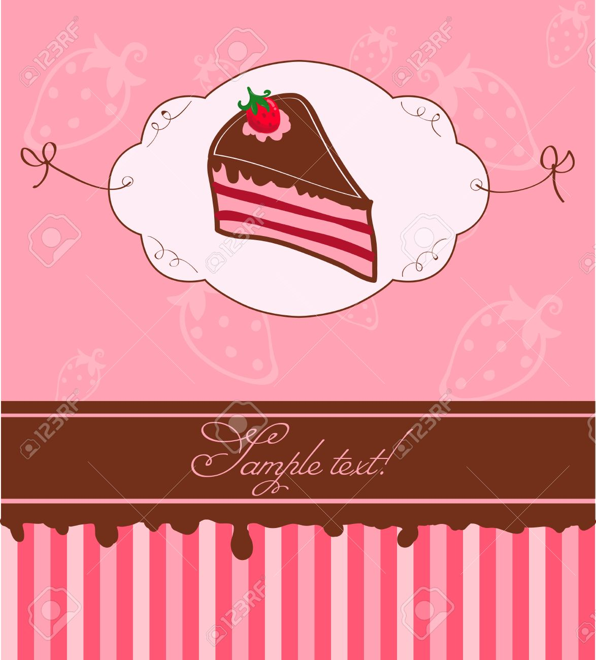 Cute Pink Invitation Postcard with Strawberry Cake Stock Vector - 9141452