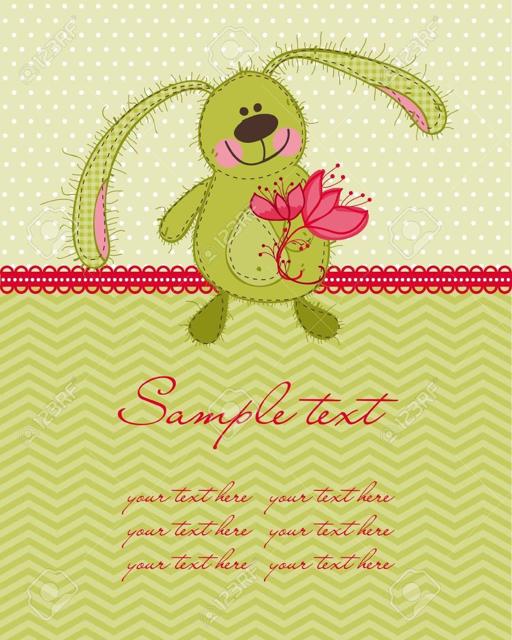 Cute Bunny Card Stock Vector - 9141466