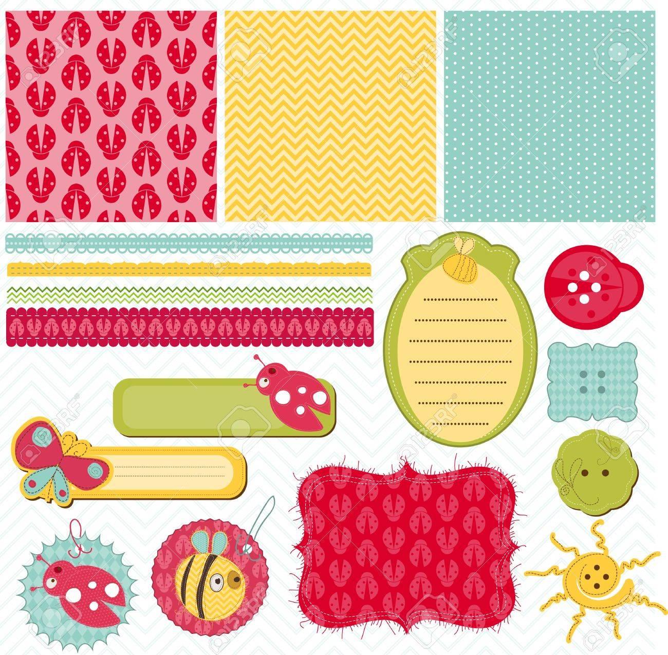 Scrapbook paper designs - Design Elements For Baby Scrapbook Stock Vector 9253001