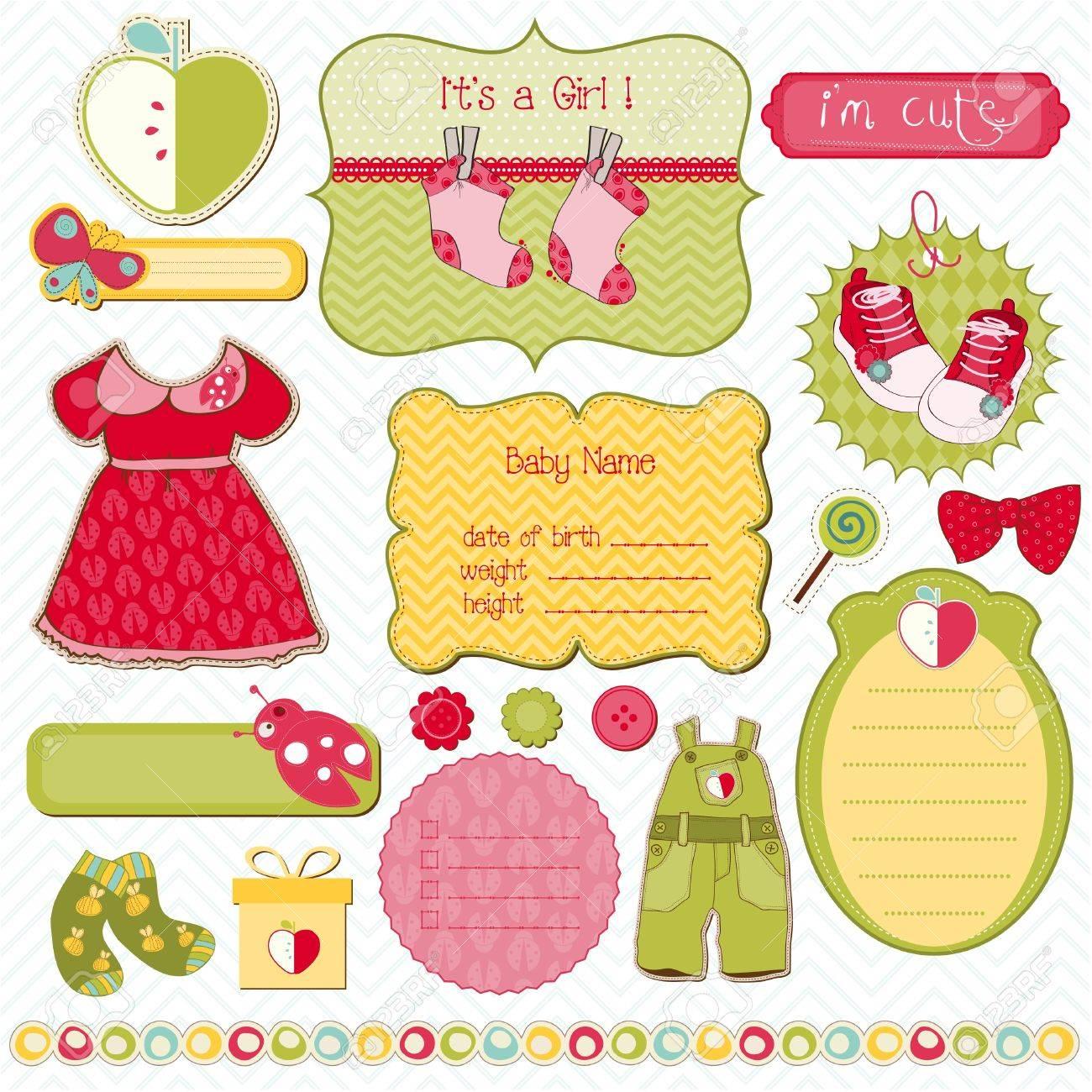 How to scrapbook for baby girl - Design Elements For Baby Scrapbook Easy To Edit Stock Vector 9303525