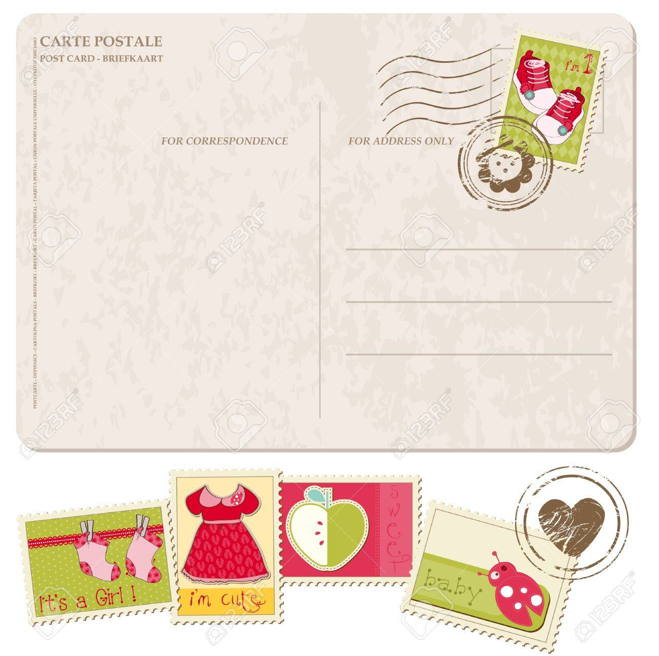Baby Girl Arrival Postcard with set of stamps Stock Vector - 9478787