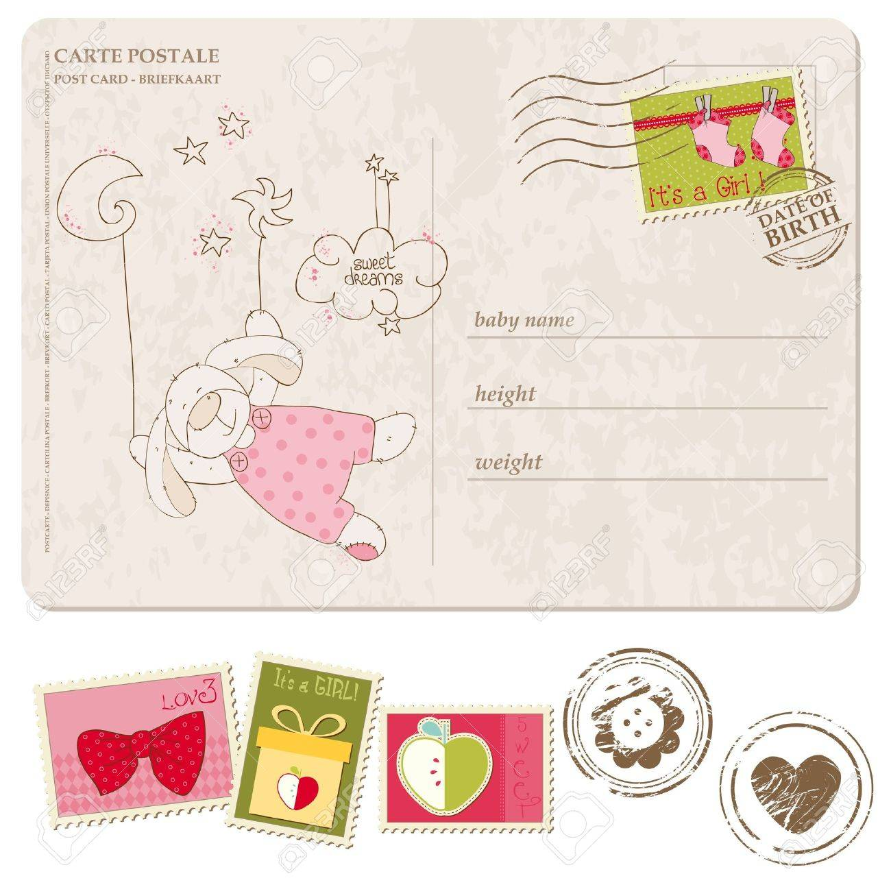 Baby Boy Arrival Postcard With Set Of Stamps Royalty Free Cliparts ...