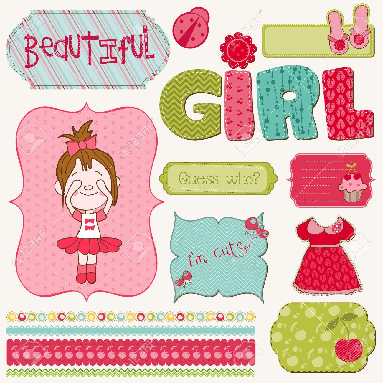 How to scrapbook for baby girl - Scrapbook Girl Set Design Elements Stock Vector 9478753