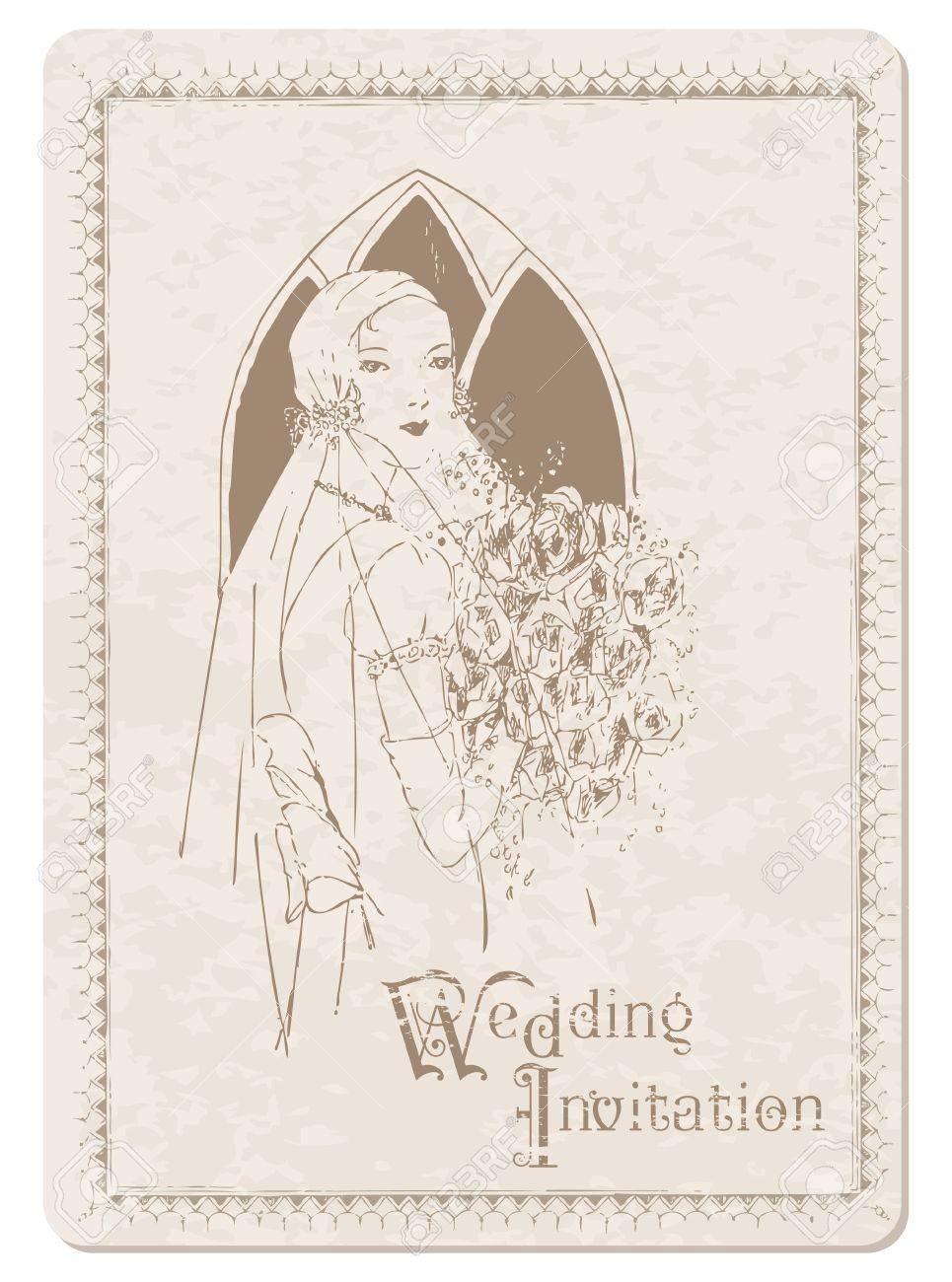 postal de invitacin de boda retro con novia para el diseo y scrapbook foto de