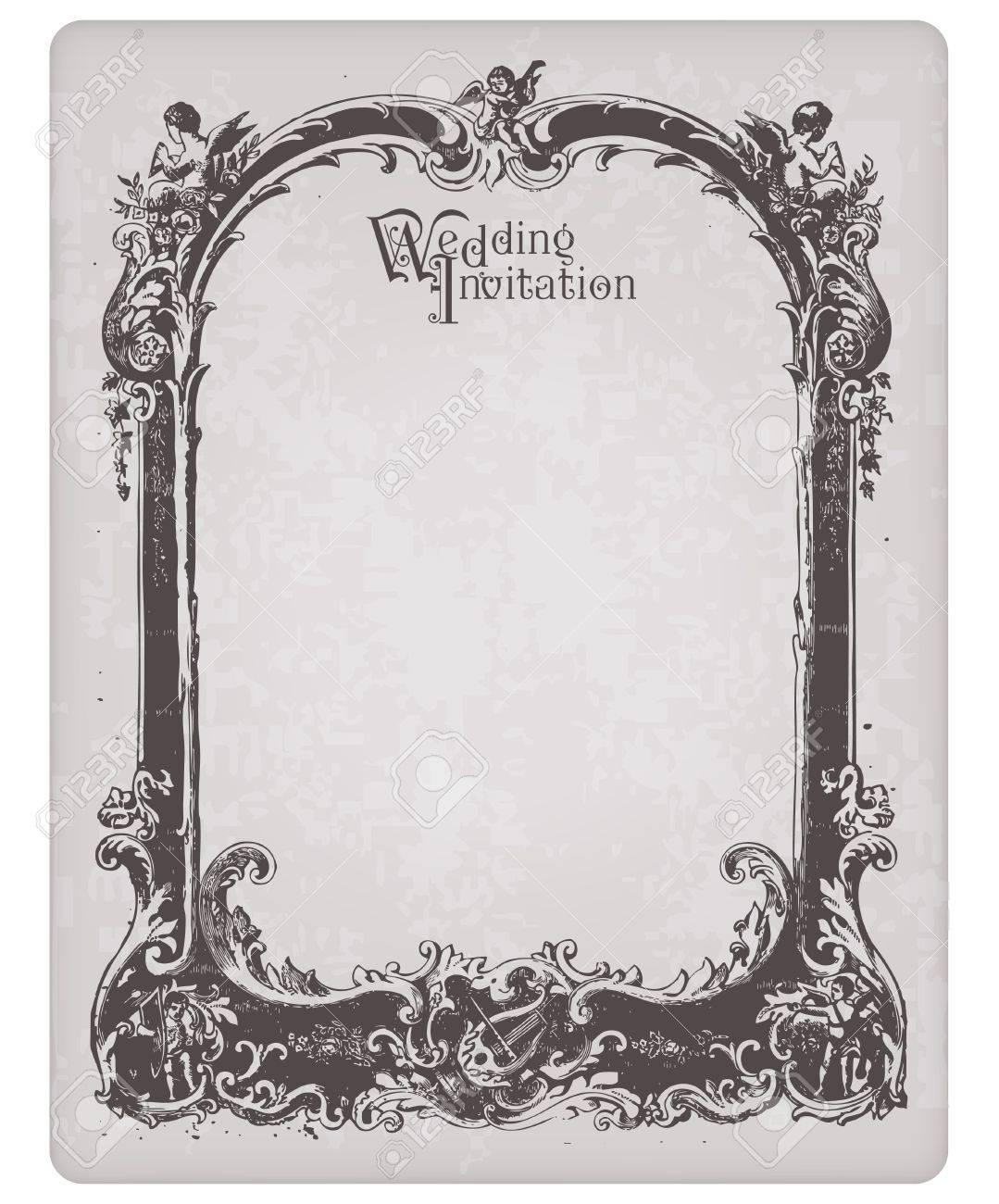 foto de archivo postal de invitacin de boda retro con hermoso marco para diseo y scrapbook