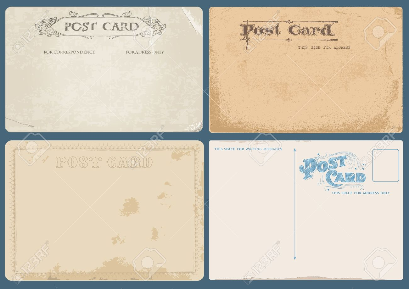 Set of Antique postcards in vector with Postal stamps- see more in my profile Stock Vector - 9942146