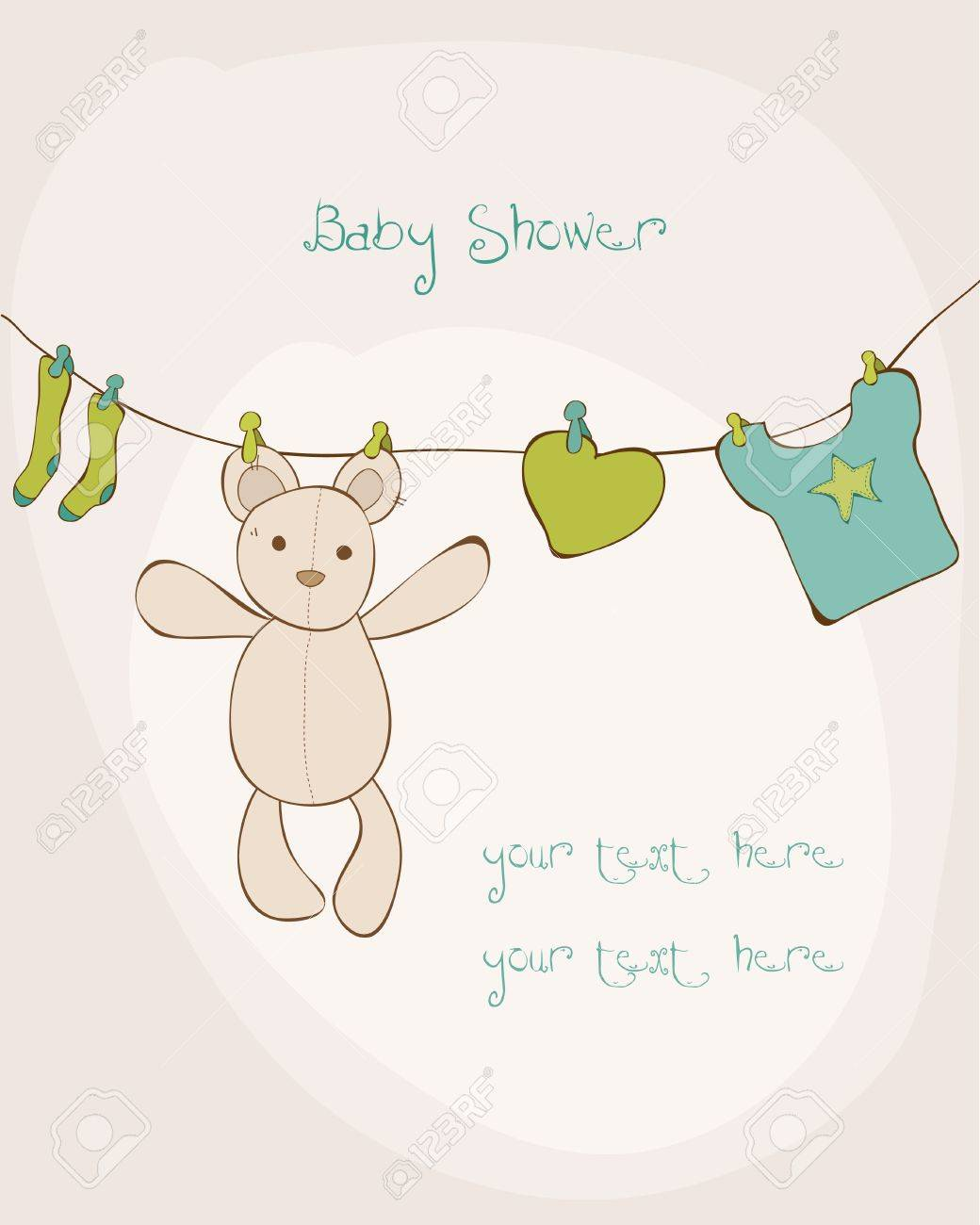 Baby Shower Karte Text.Baby Shower Card With Place For Your Text In Vector