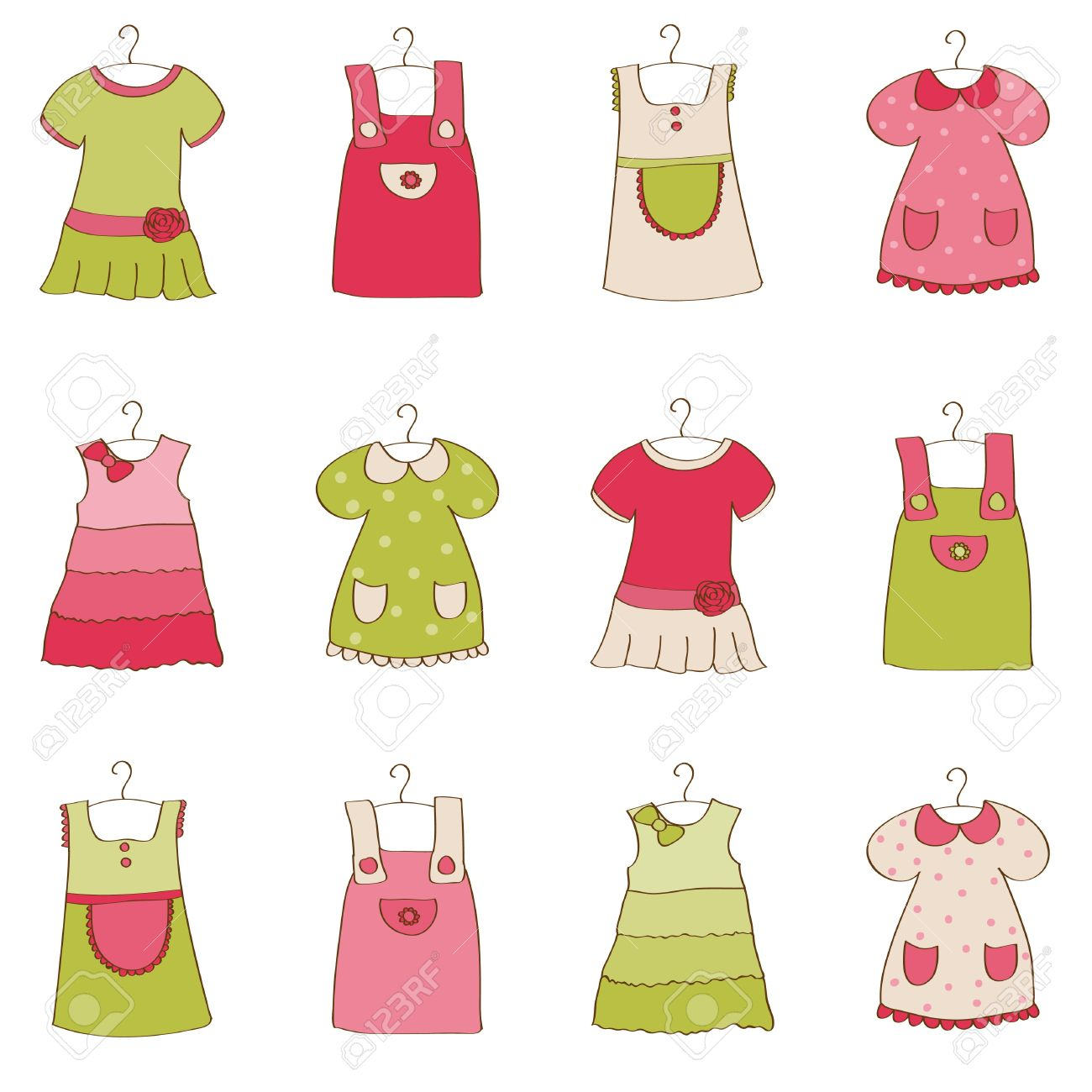 baby girl dress collection stock vector 10136946 baby girl dress designs