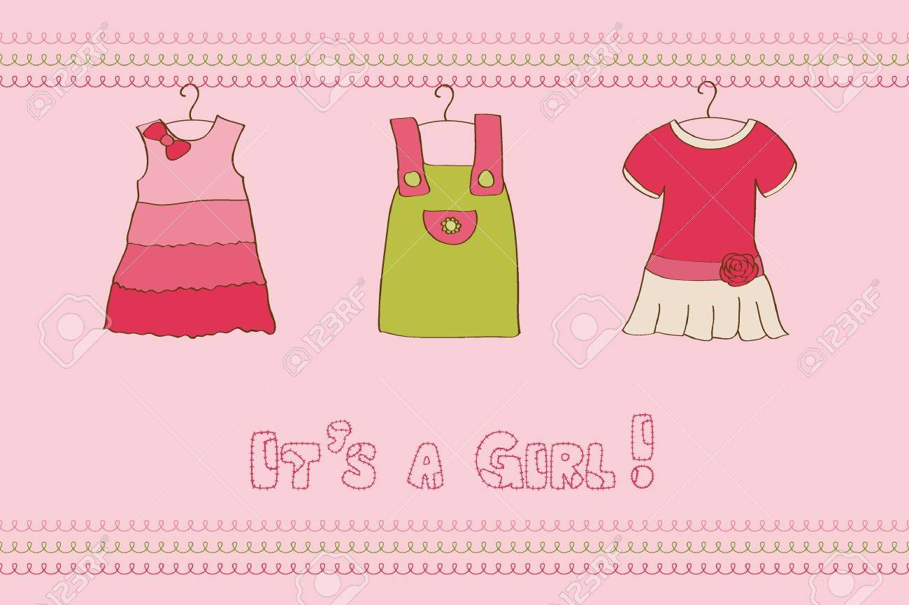 Scrapbook paper baby - Baby Girl Arrival Card For Design And Scrapbook Stock Vector 10136945