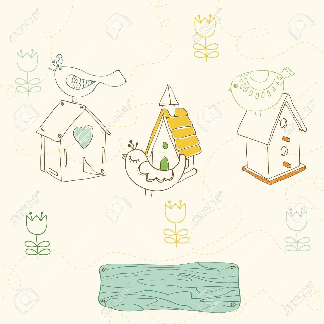 Birds and Bird Houses doodles - for design and scrapbook Stock Vector - 10136954