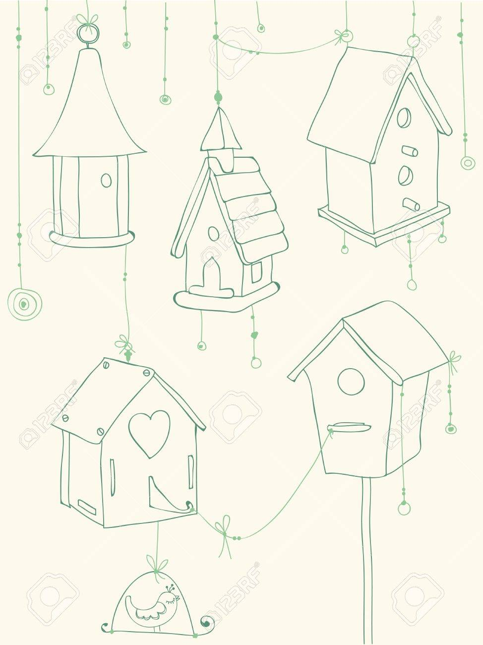 Greeting Card with Birds and Bird Houses doodles - for design and scrapbook Stock Vector - 10136949