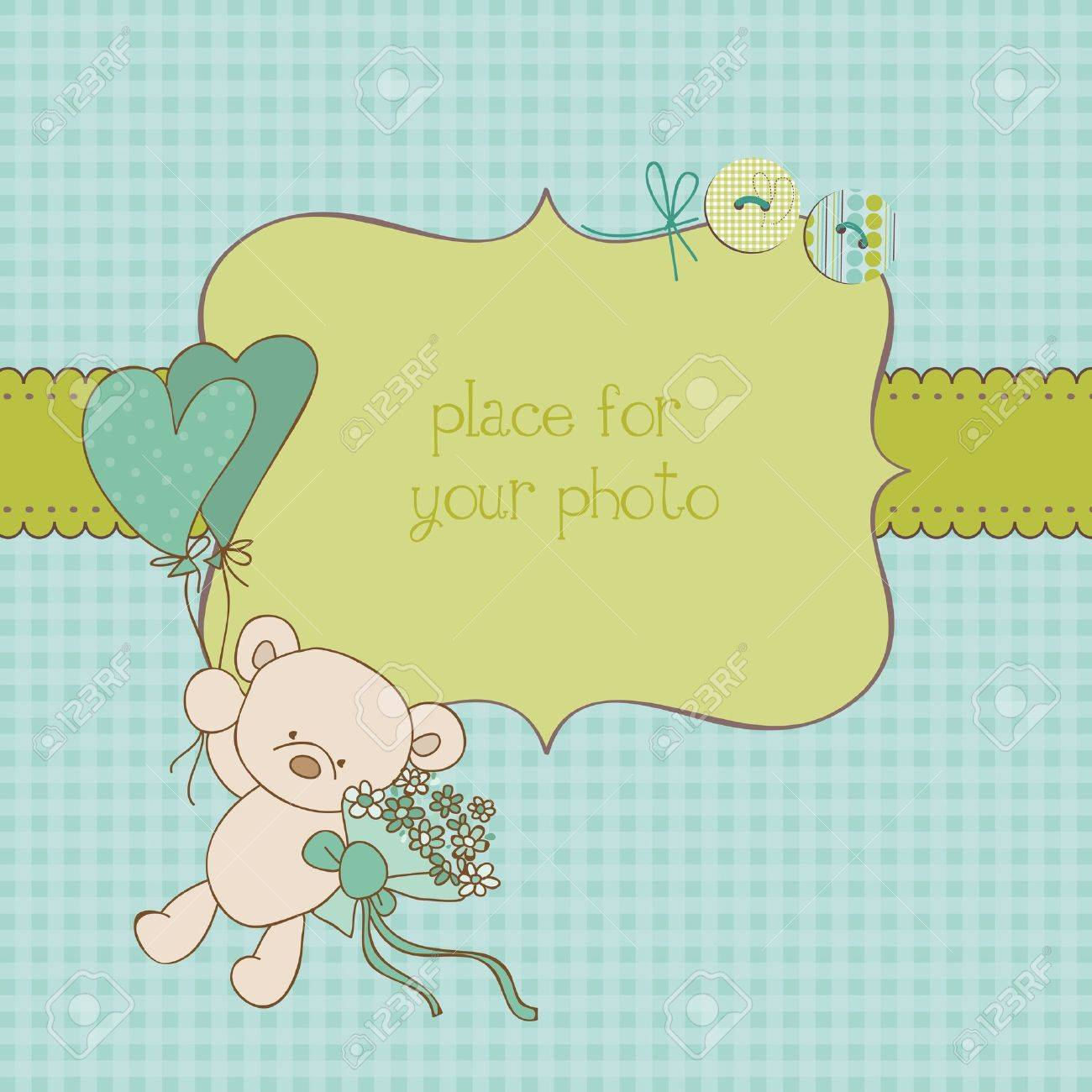 Baby Greeting Card with Photo Frame and place for your text in vector Stock Vector - 10462907