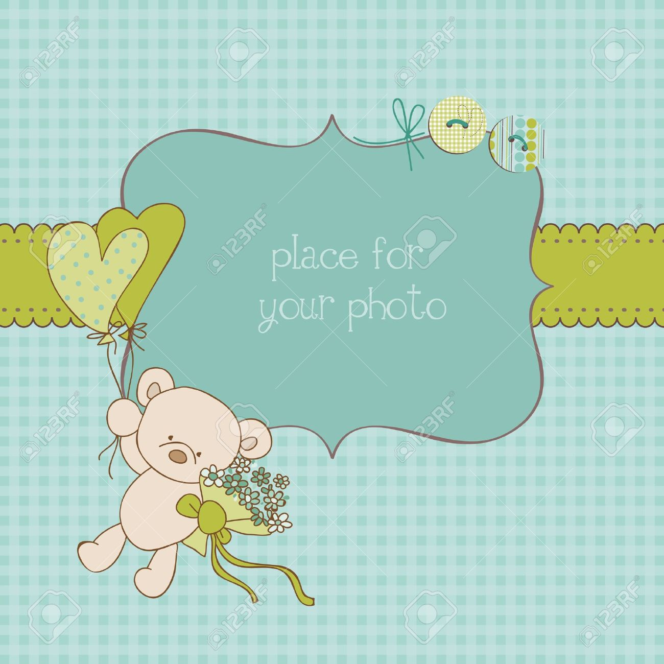 Baby Greeting Card With Photo Frame And Place For Your Text In