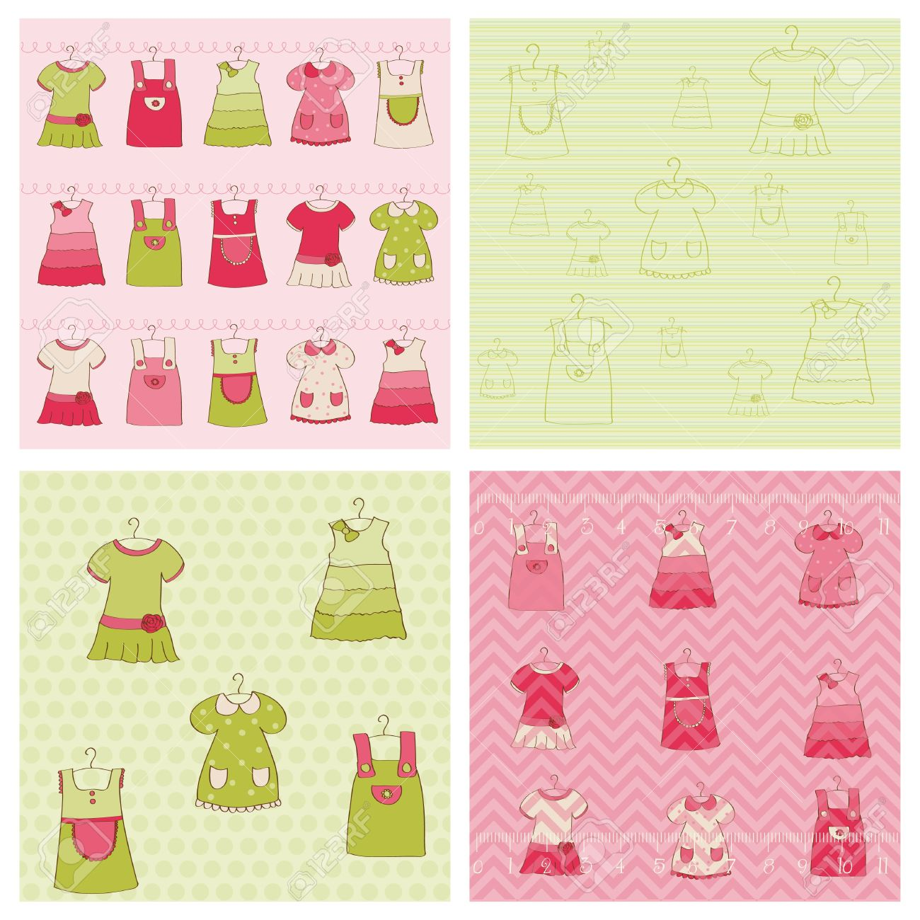 How to scrapbook for baby girl - Seamless Background Collection Baby Girl Dress Stock Vector 10462915