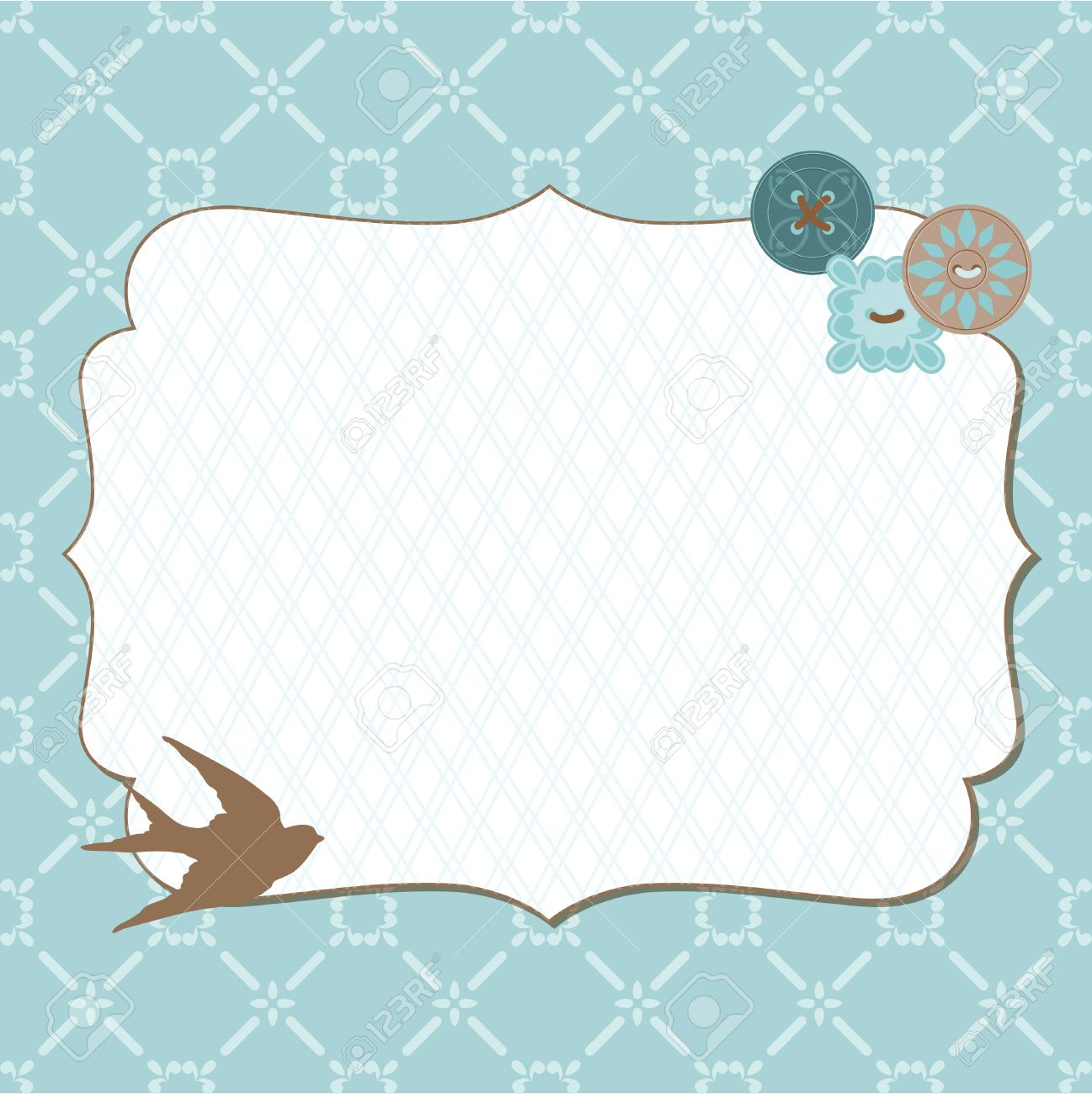 Beautiful Retro Card With Photo Frame For Invitation Greetings