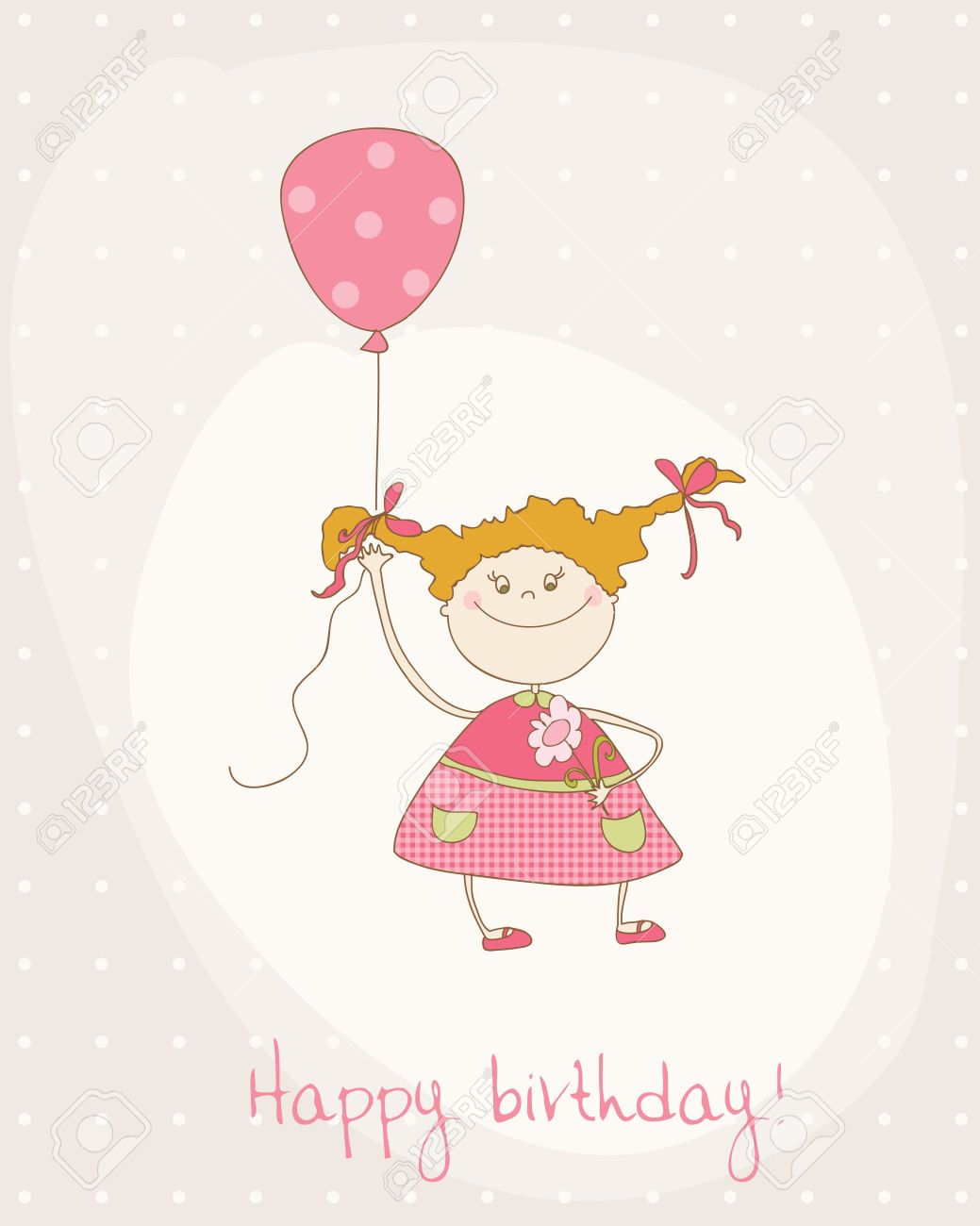 Greeting Birthday Card With Cute Girl Royalty Free Cliparts – Birthday Cards Baby