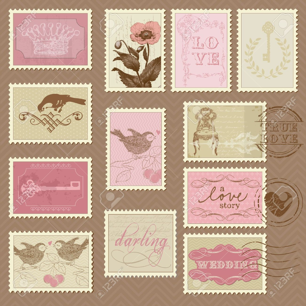 How to scrapbook a wedding invitation - Retro Postage Stamps For Wedding Design Invitation Congratulation Scrapbook Stock Vector