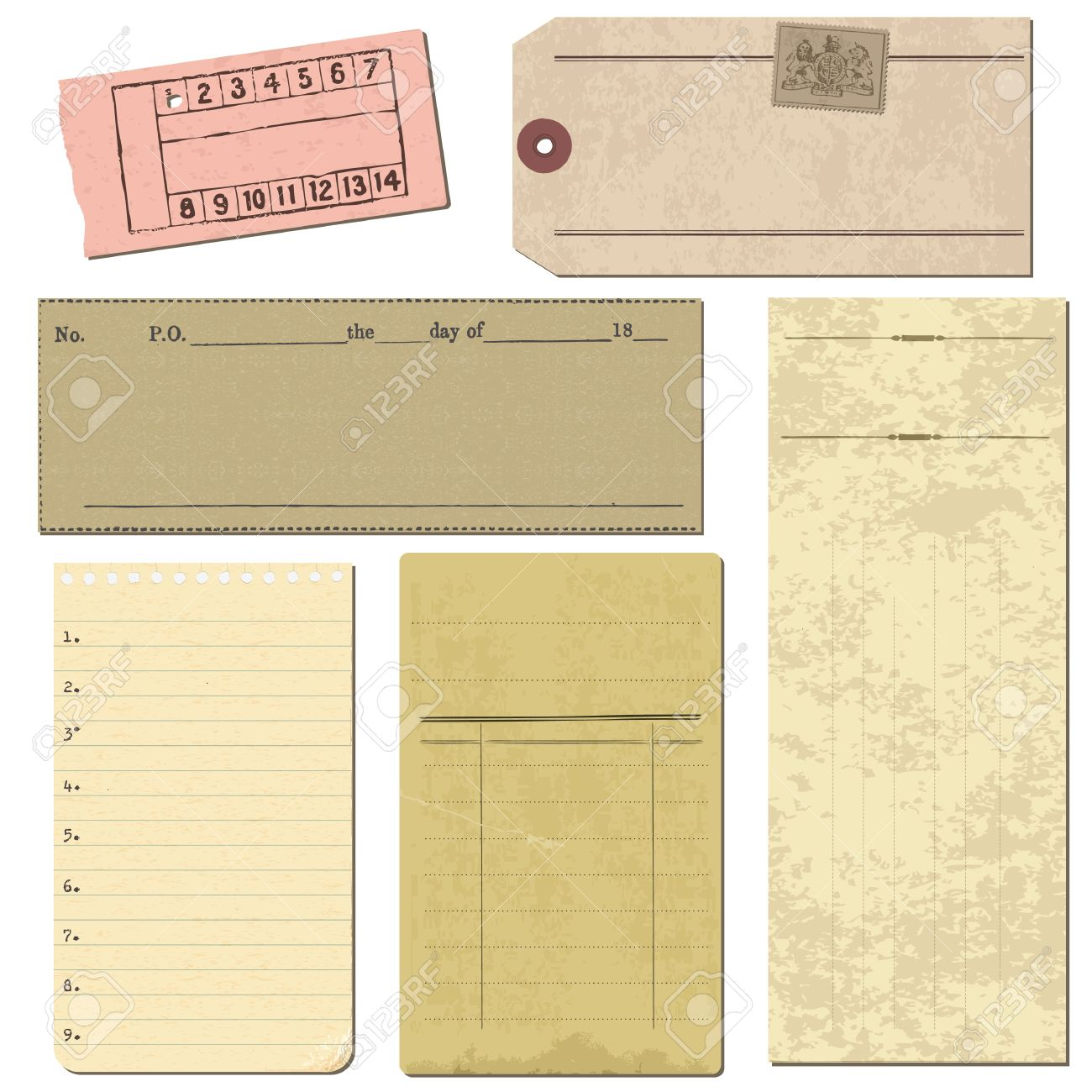 Set of Old paper objects - for design and scrapbook in vector Stock Vector - 10662874
