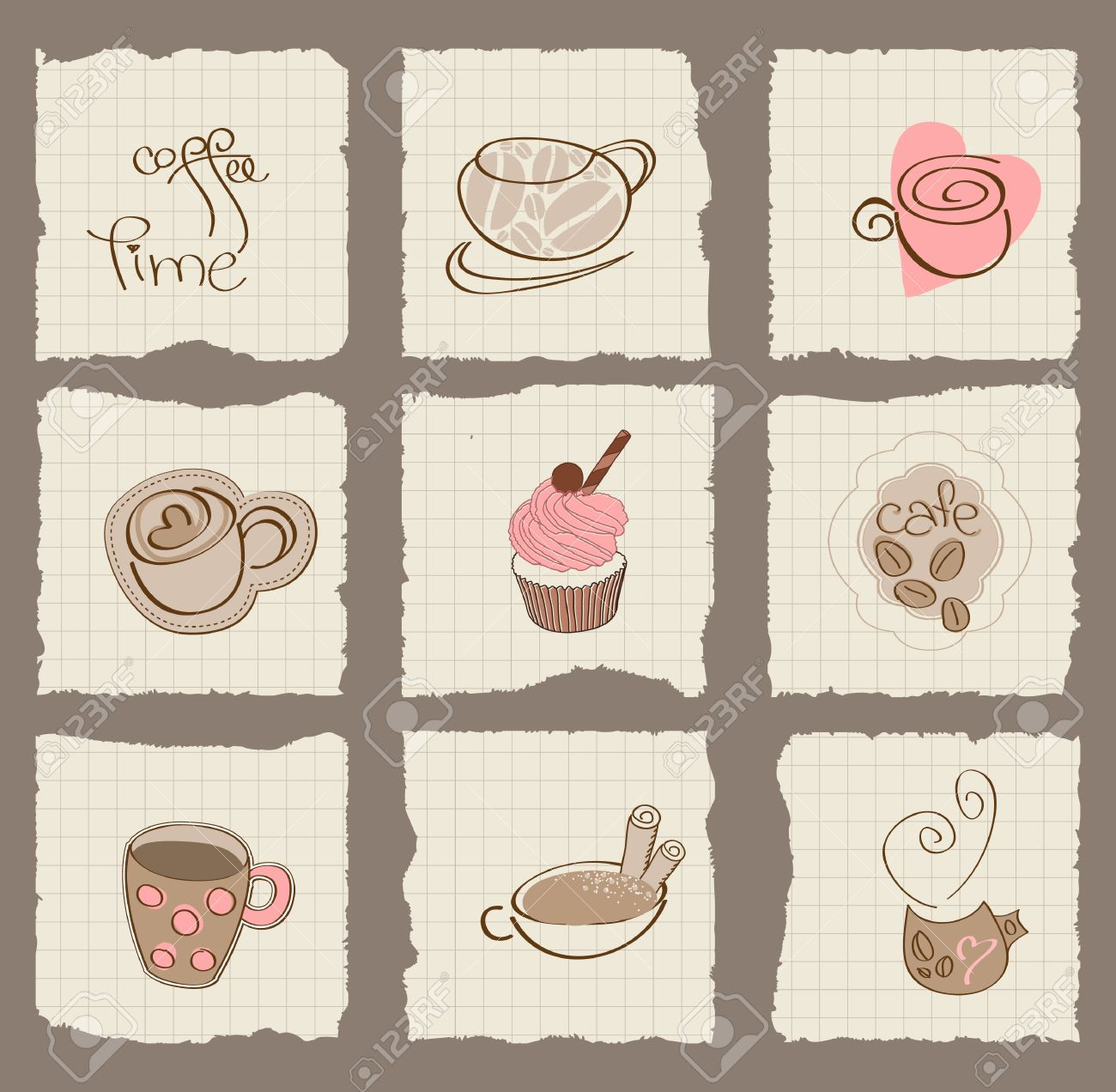 Coffee Design Elements on torn Paper - for scrapbook, design, invitation, greetings Stock Vector - 10662856