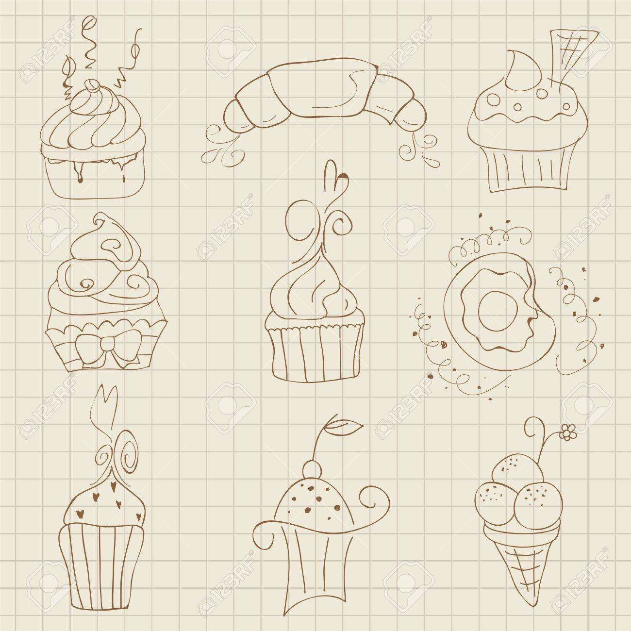 Set of Cute Cupcakes and Desserts -  for design, scrapbook, invitaion Stock Vector - 10662851